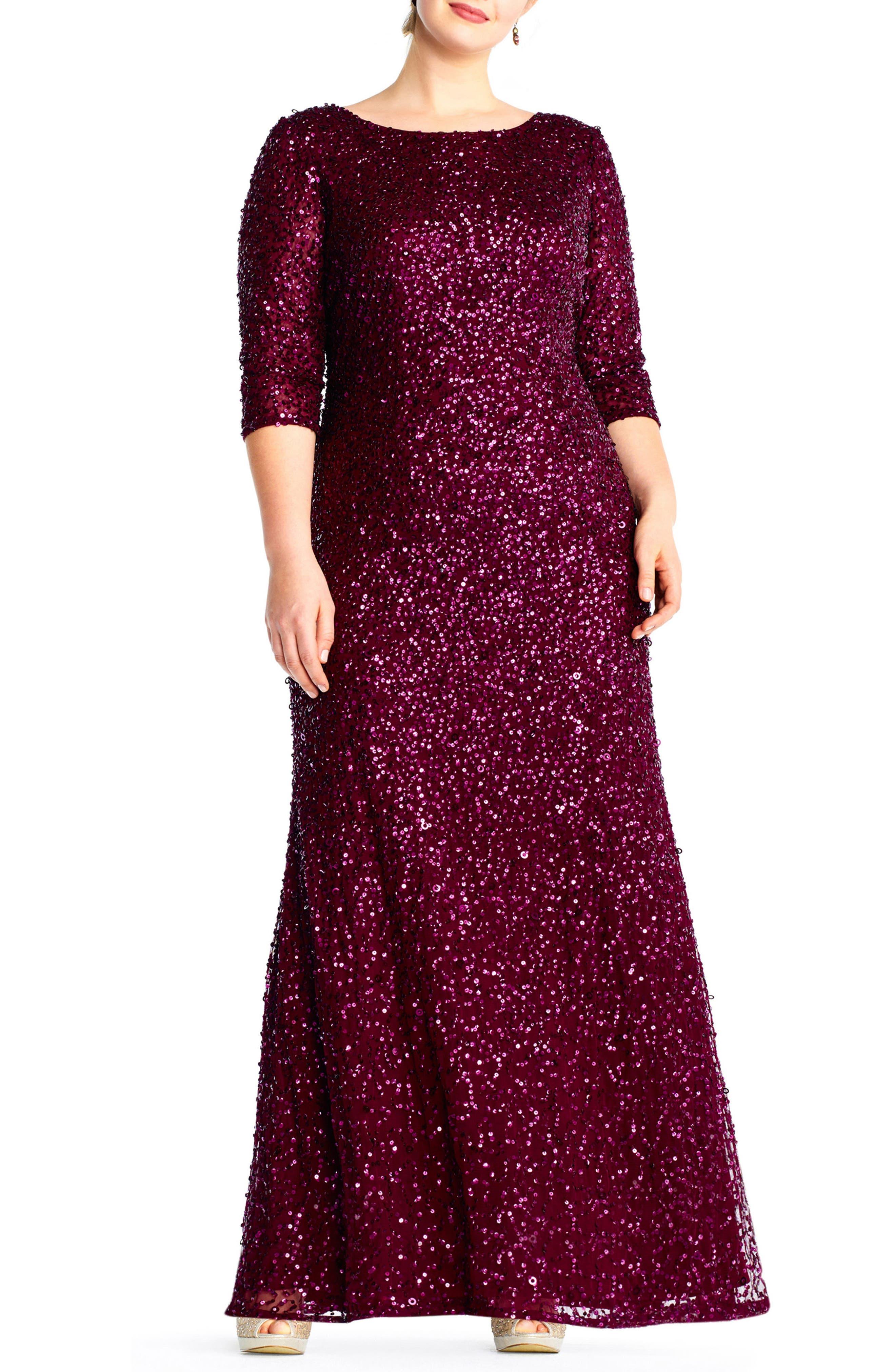 Embellished Scoop Back Gown,                             Main thumbnail 1, color,                             CABERNET