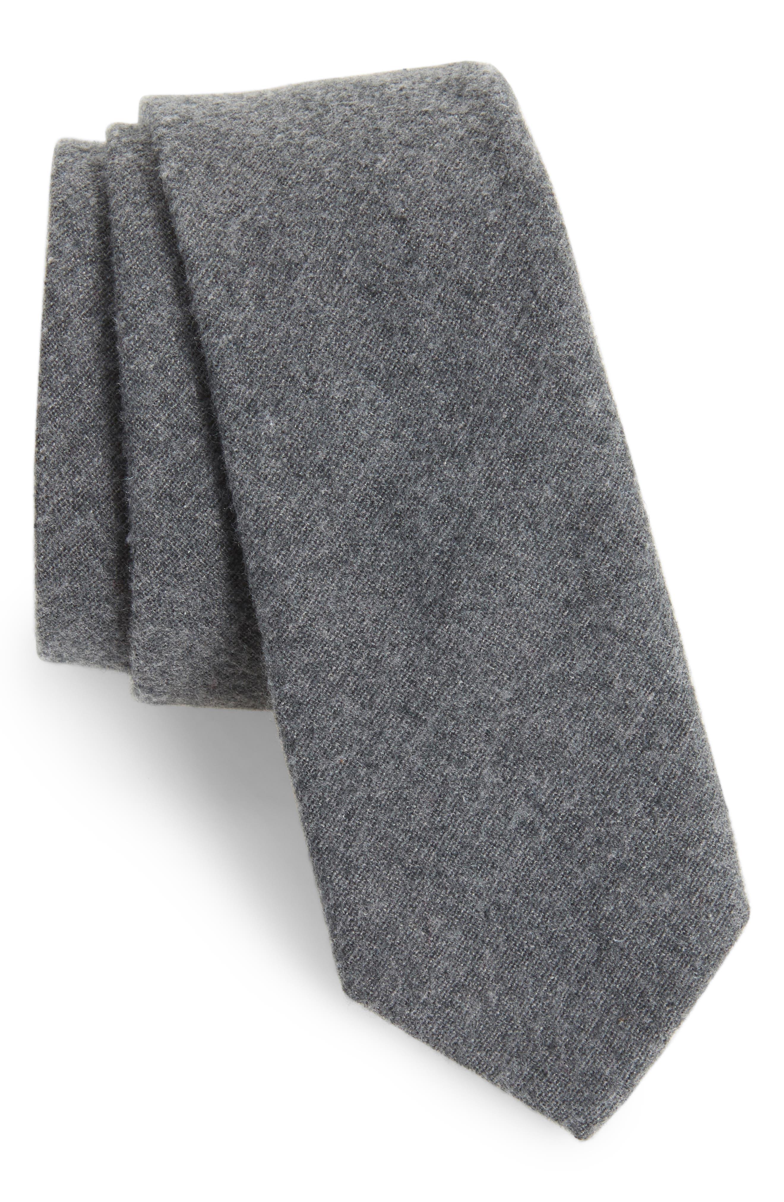 Bert Solid Cotton Skinny Tie,                             Main thumbnail 1, color,                             010