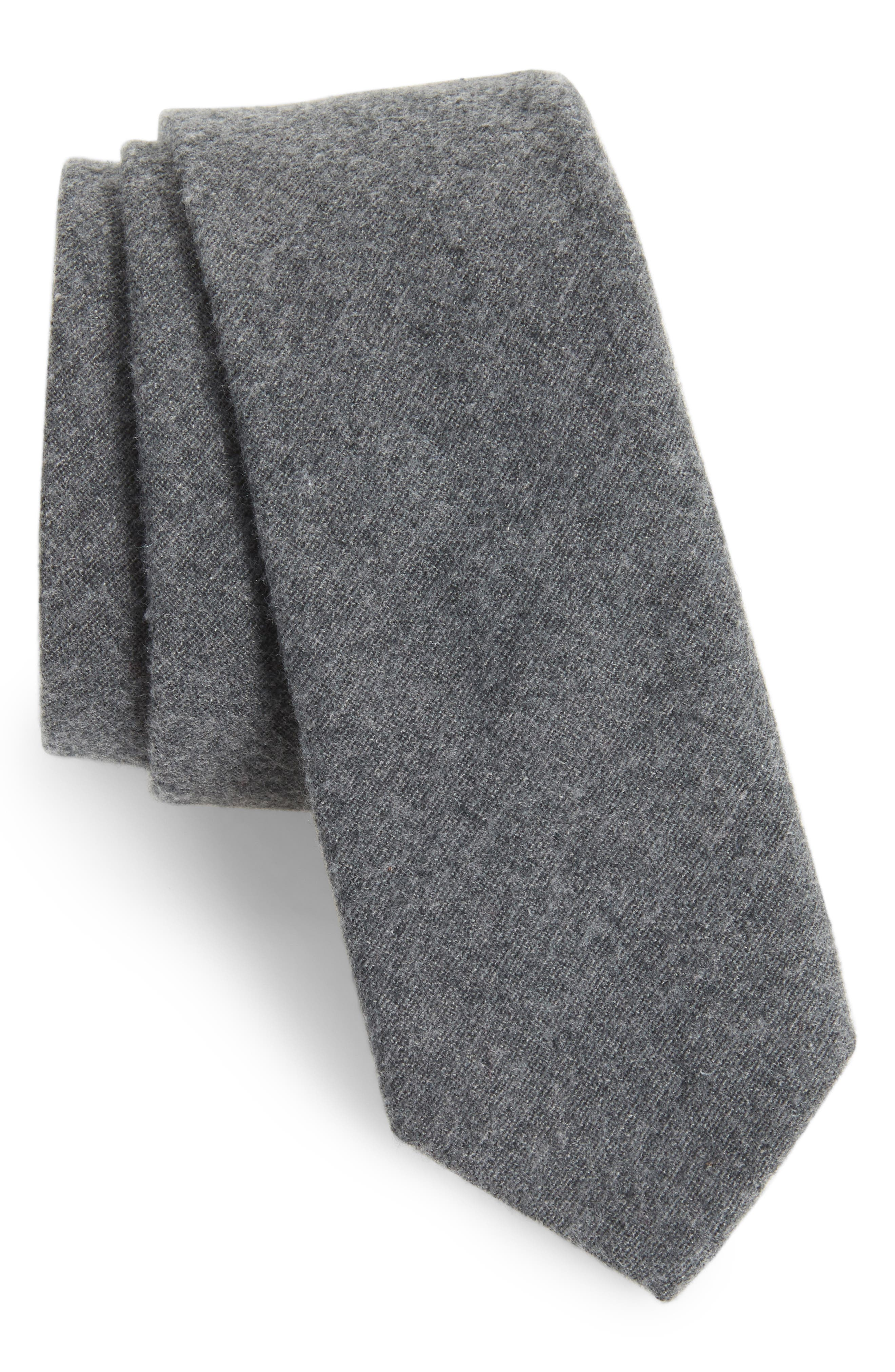 Bert Solid Cotton Skinny Tie,                         Main,                         color, 010