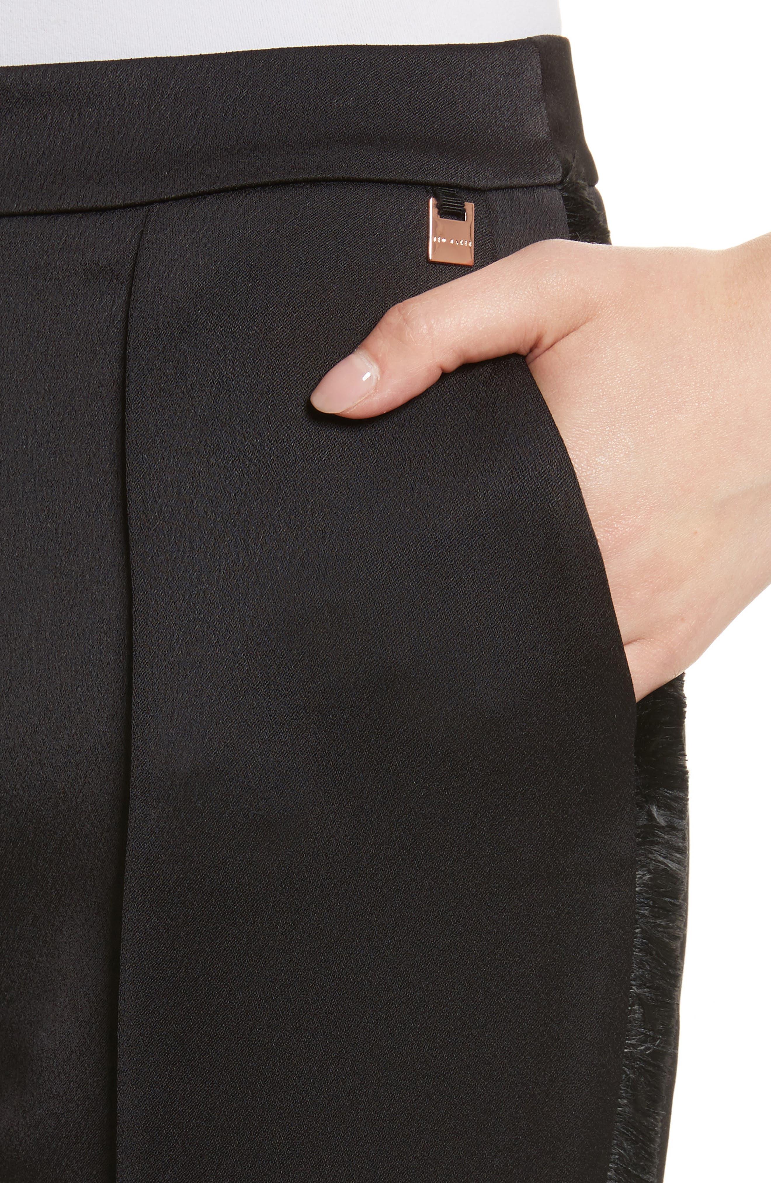 Fringe Side Seam Trousers,                             Alternate thumbnail 4, color,                             001