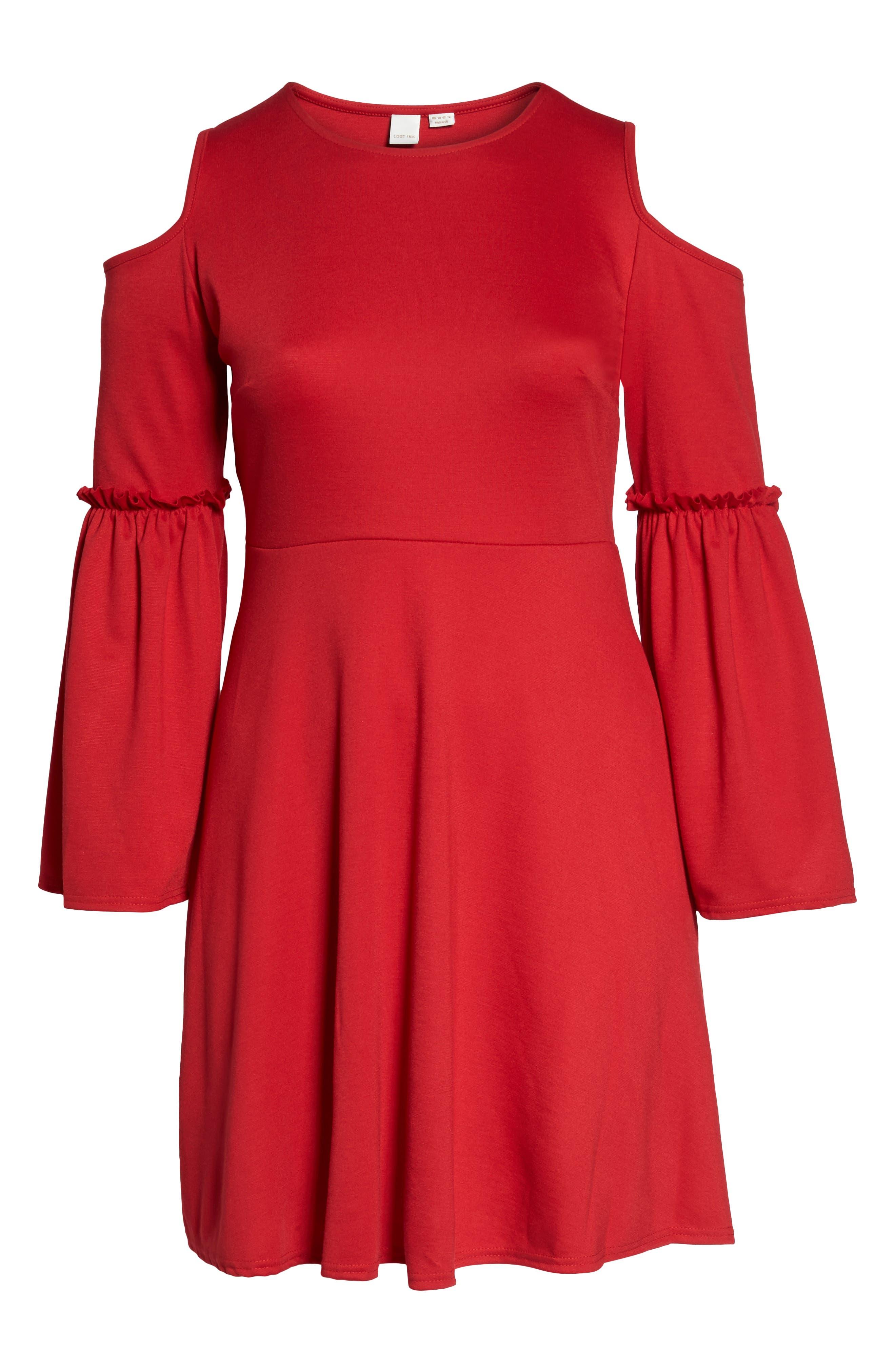Frill Sleeve Cold Shoulder Skater Dress,                             Alternate thumbnail 6, color,