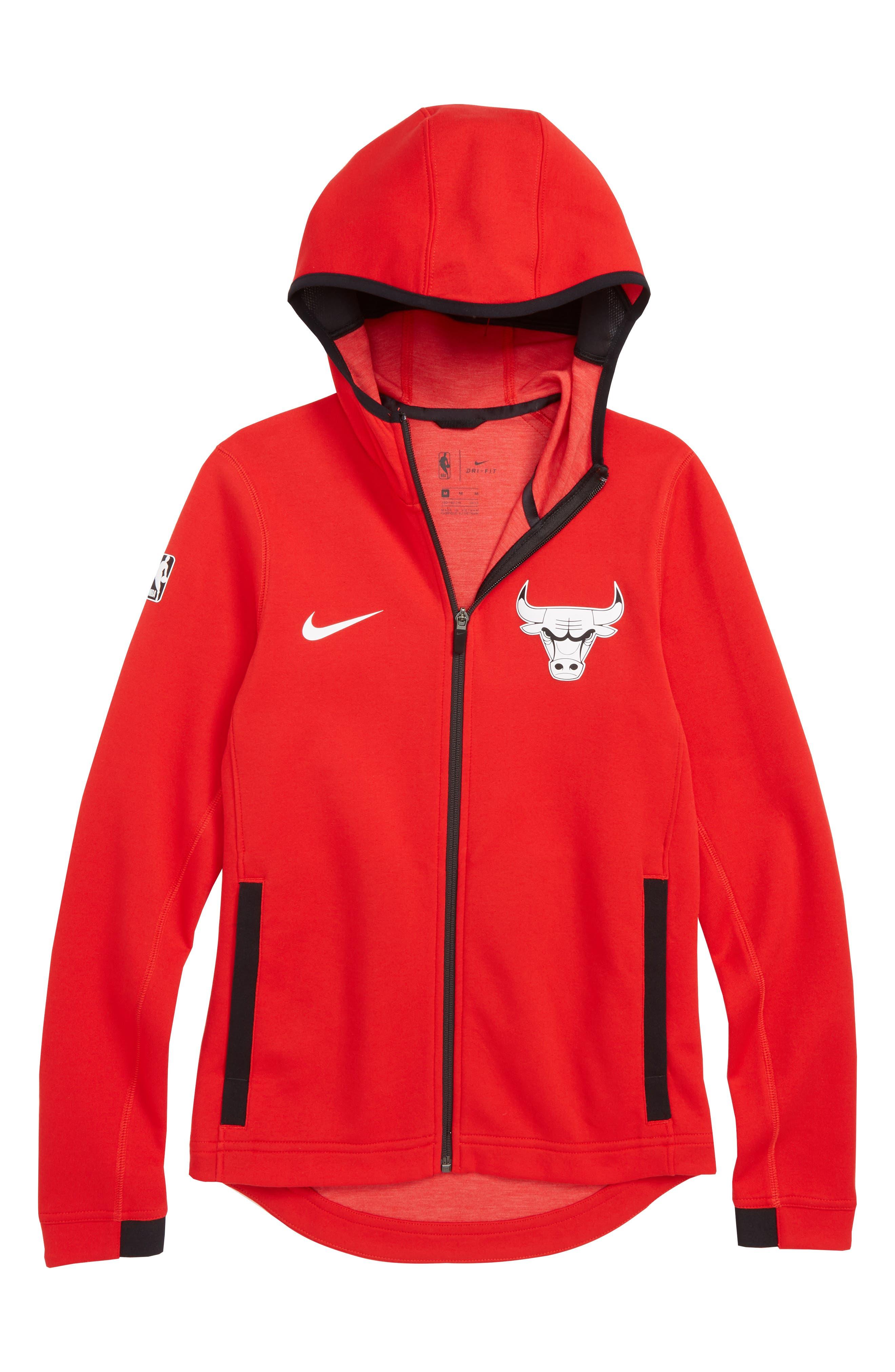 Chicago Bulls Showtime Dri-FIT Zip Hoodie,                             Main thumbnail 1, color,                             UNIVERSITY RED