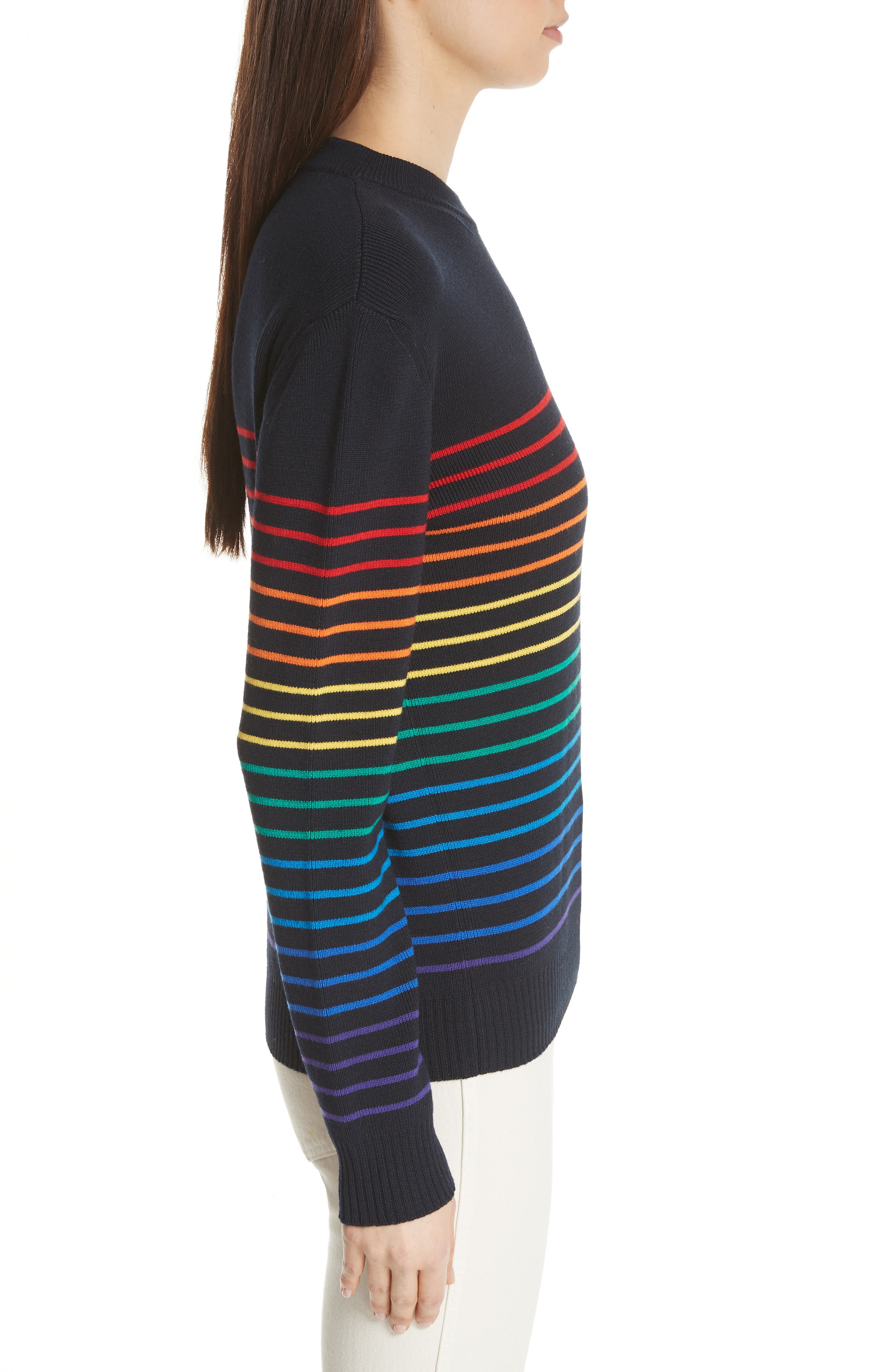 Marinière Stripe Wool Sweater,                             Alternate thumbnail 3, color,                             400