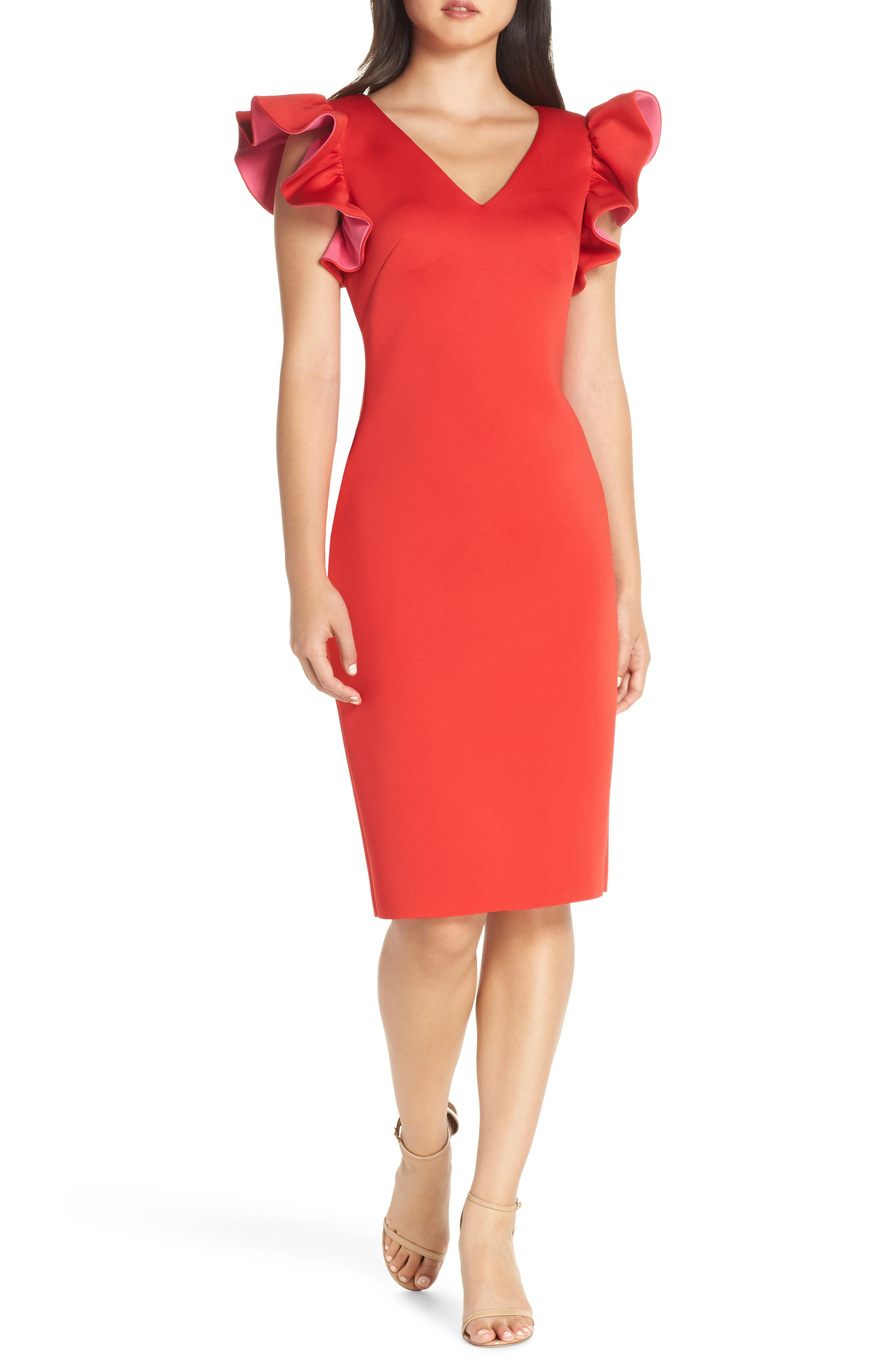 Eliza J Ruffle Shoulder Scuba Crepe Dress, Red