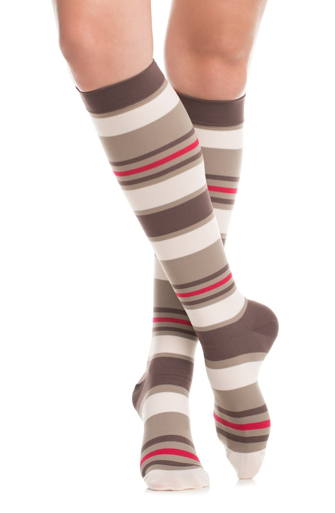 'Fun Stripe' Graduated Compression Trouser Socks,                             Alternate thumbnail 2, color,                             211