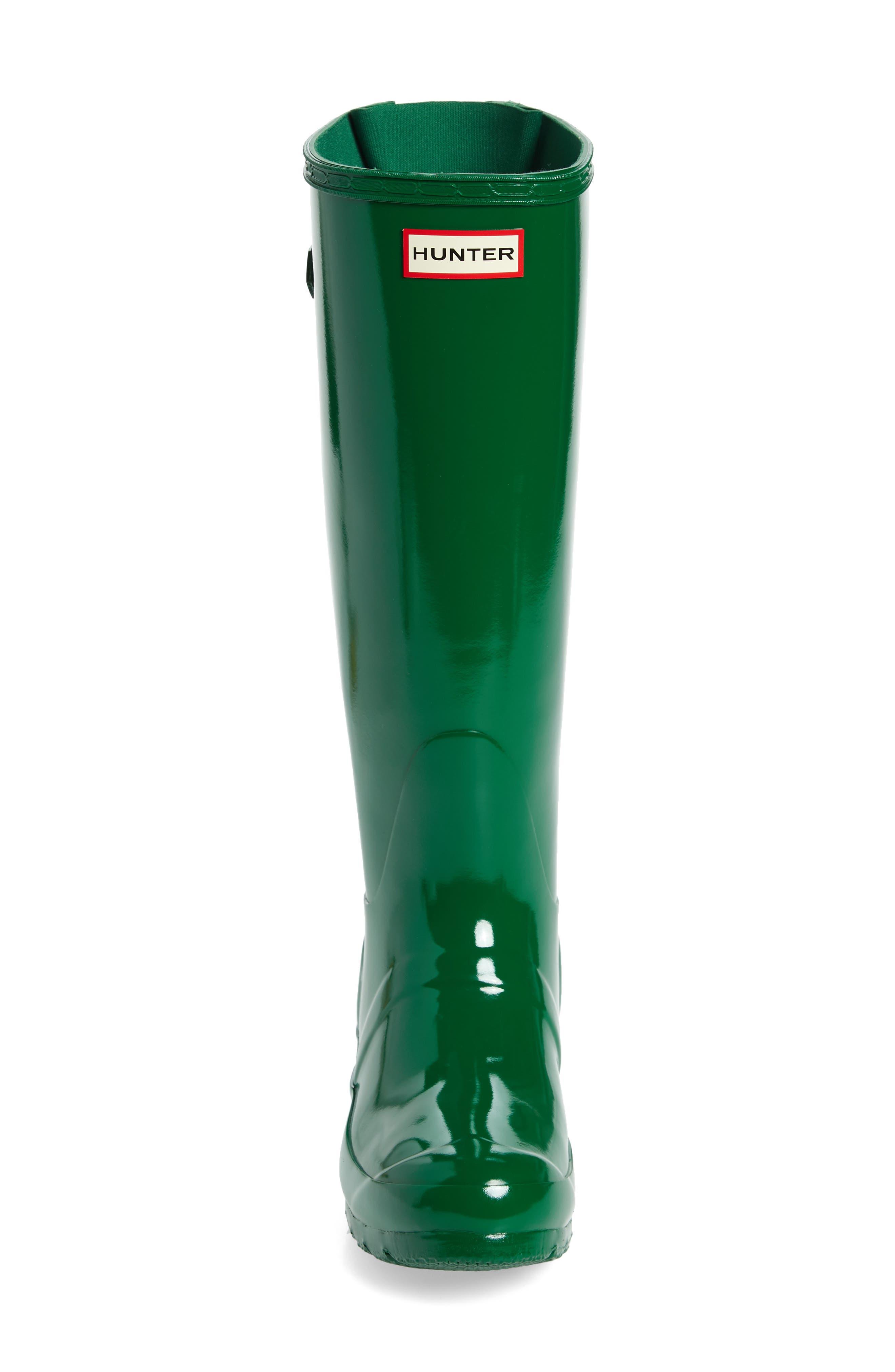 Adjustable Back Gloss Waterproof Rain Boot,                             Alternate thumbnail 4, color,                             360