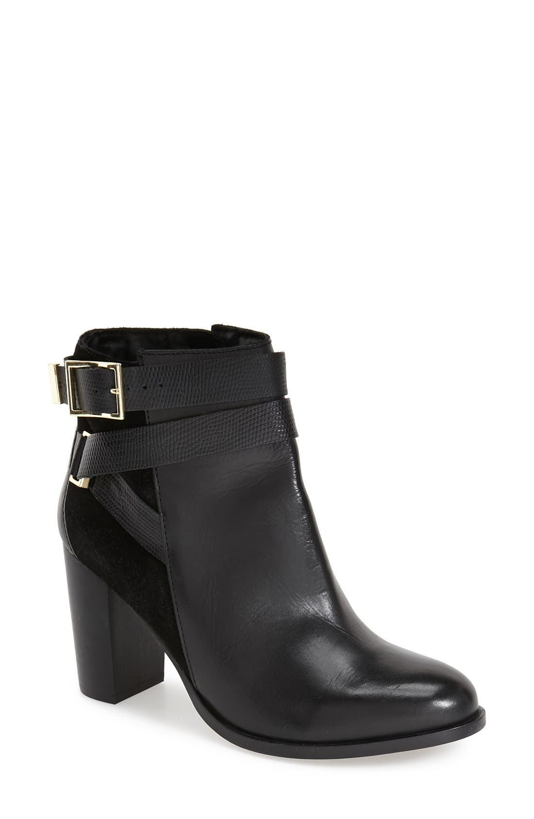 TOPSHOP 'Harper Buckle' Ankle Boot, Main, color, 001