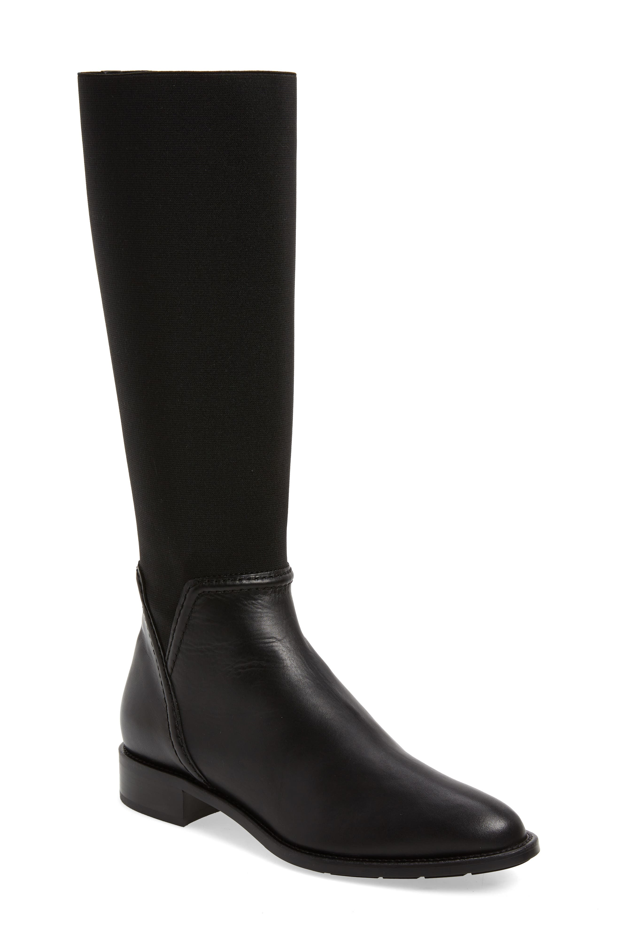 Nanina Water Resistant Riding Boot, Main, color, BLACK