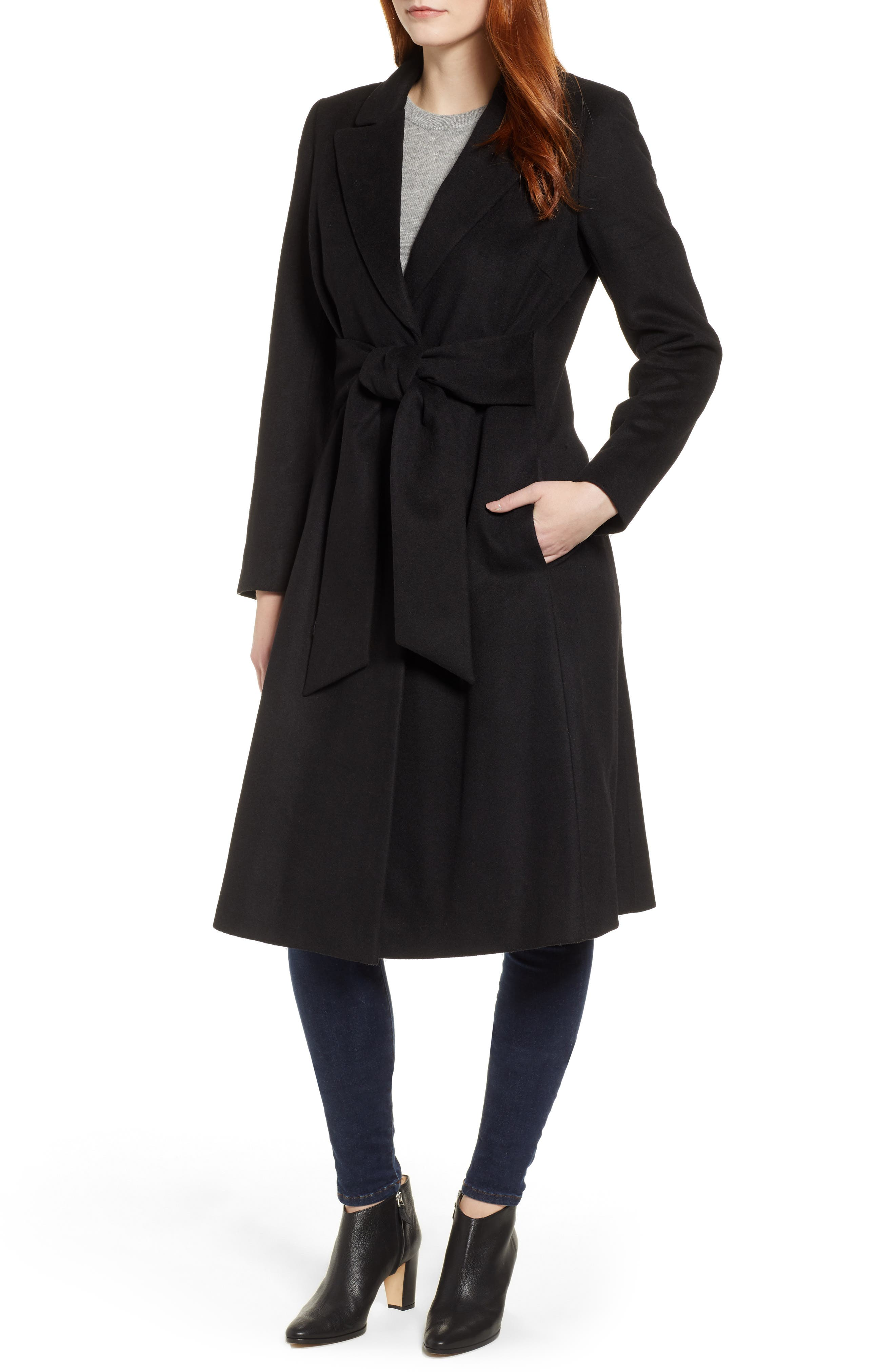 Wool Blend Trench Coat,                             Main thumbnail 1, color,                             BLACK