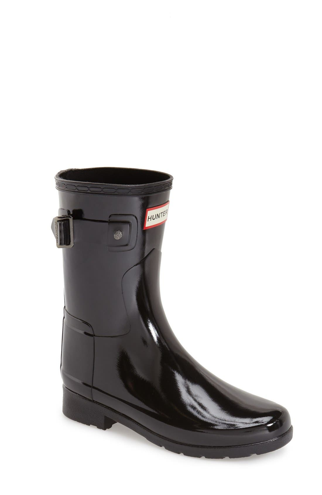 Refined Short Gloss Rain Boot,                             Main thumbnail 1, color,                             BLACK