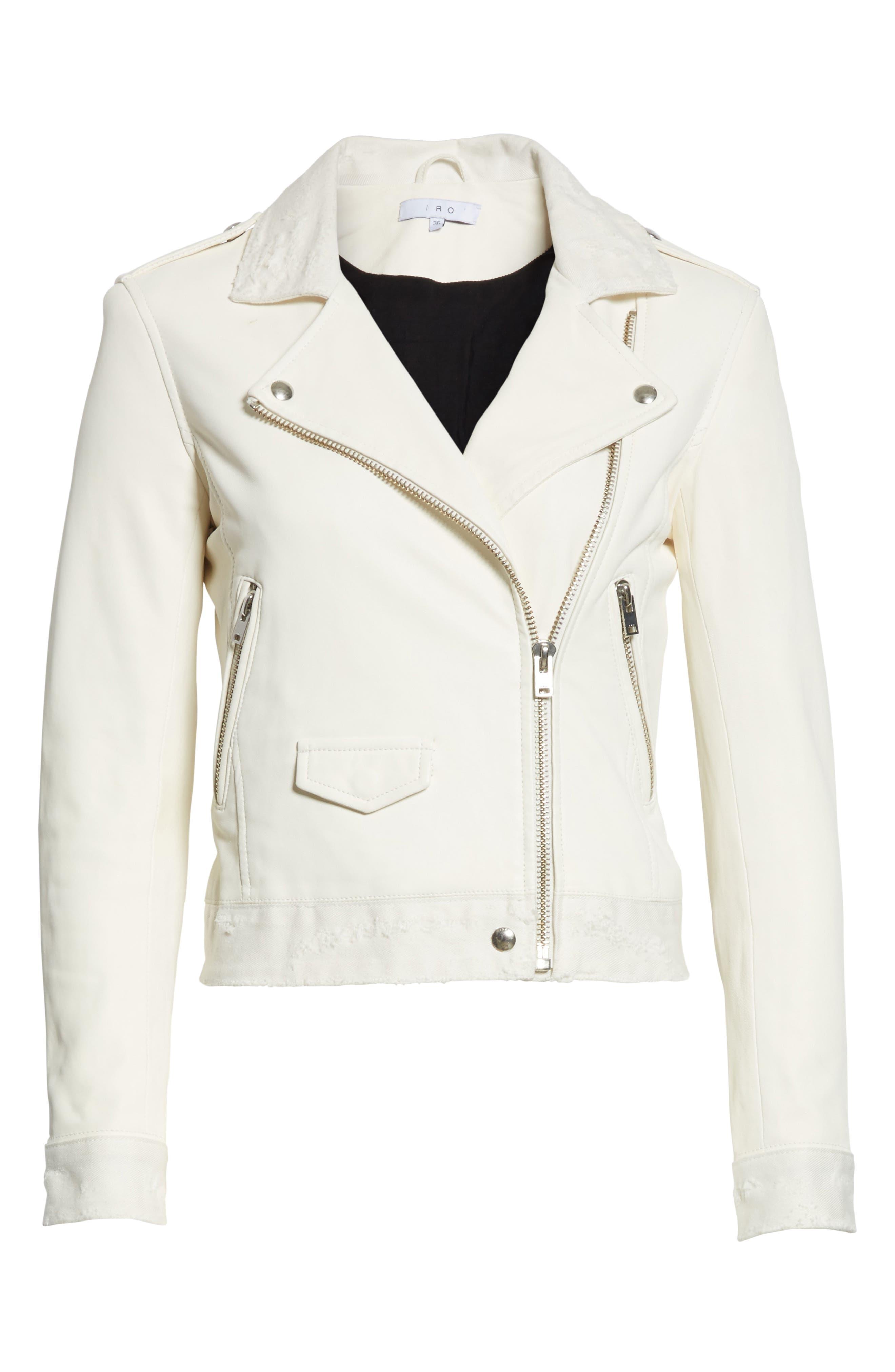 Maldone Denim Trim Leather Moto Jacket,                             Alternate thumbnail 5, color,
