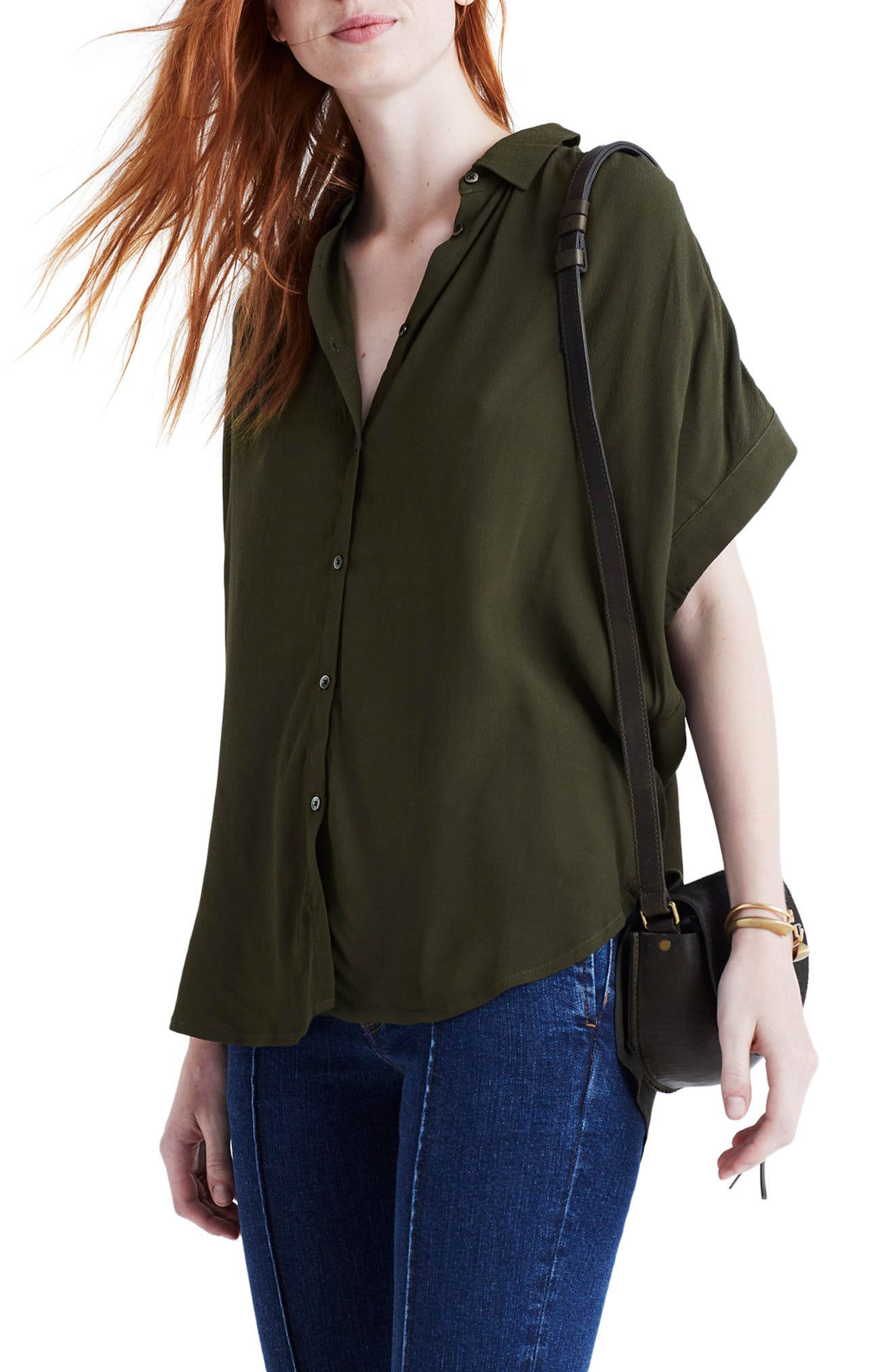 Central Drapey Shirt,                             Main thumbnail 1, color,                             KALE