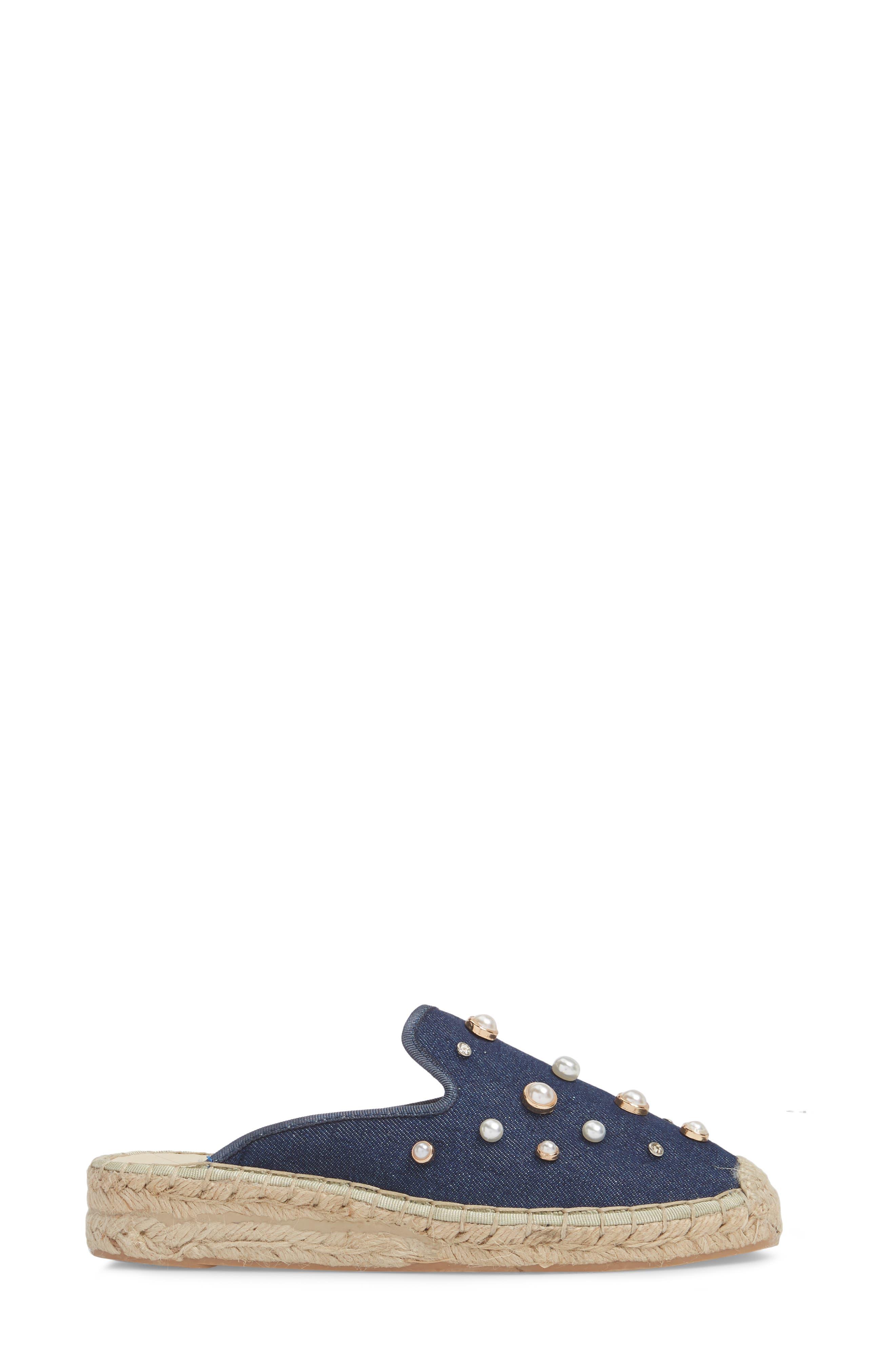Embellished Espadrille Loafer Mule,                             Alternate thumbnail 3, color,                             NAVY DENIM FABRIC