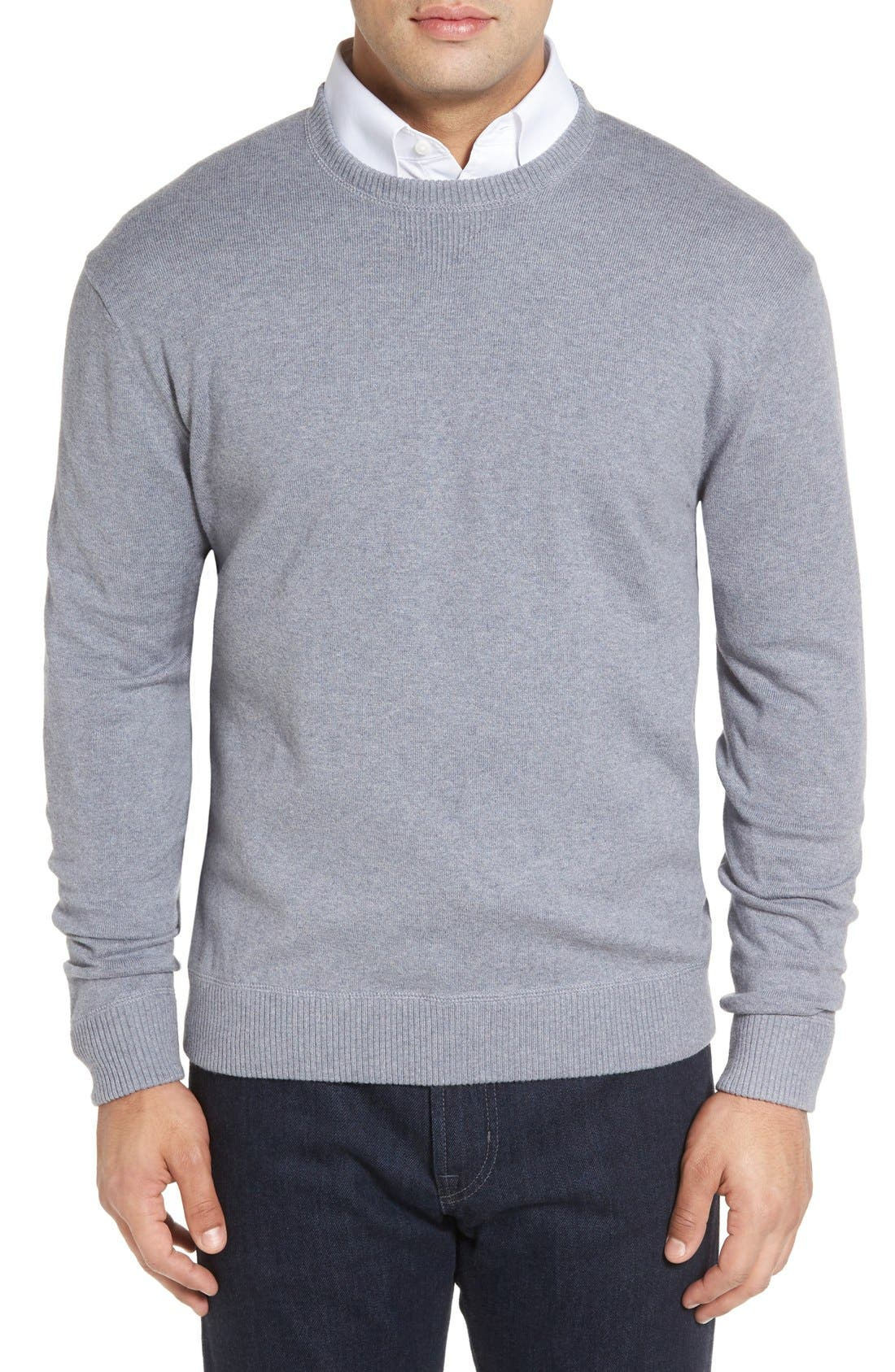 'Jersey Sport' Cotton Blend Crewneck Sweater,                             Main thumbnail 2, color,