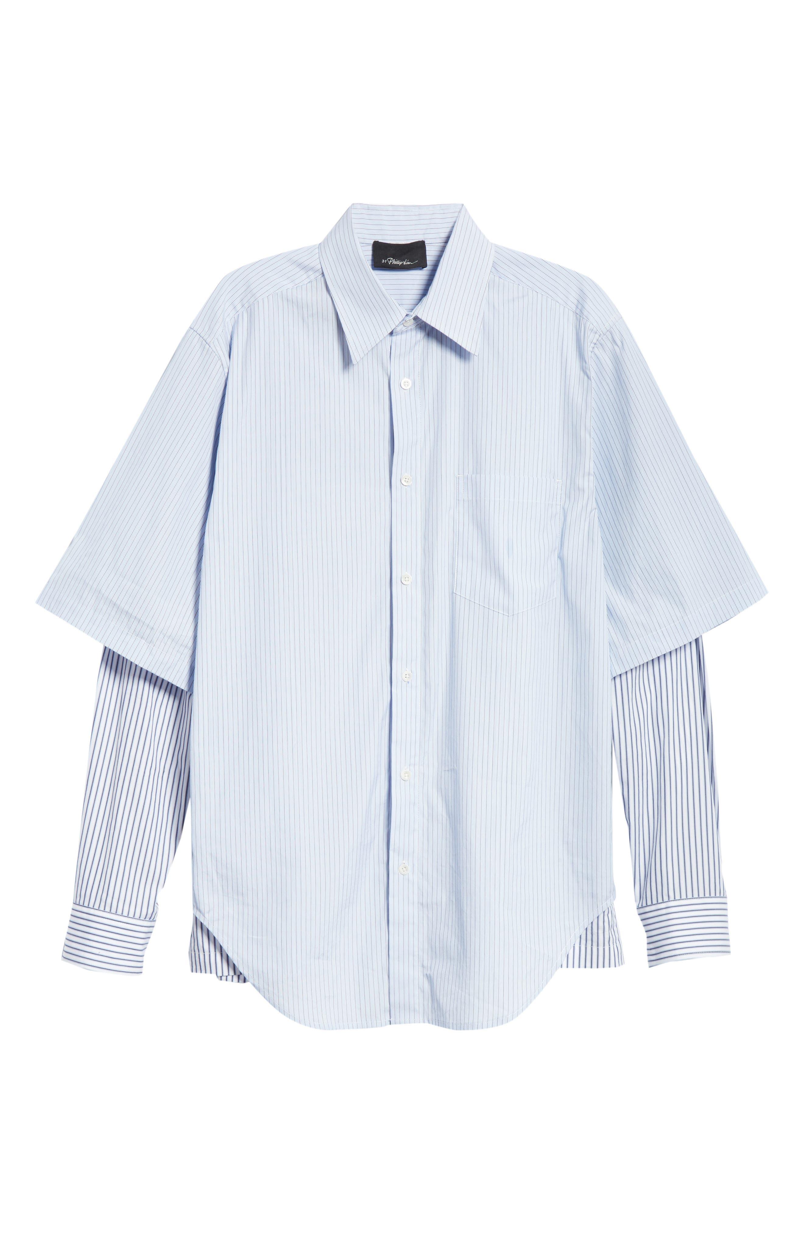 Double Layer Woven Shirt,                             Alternate thumbnail 6, color,                             WHITE