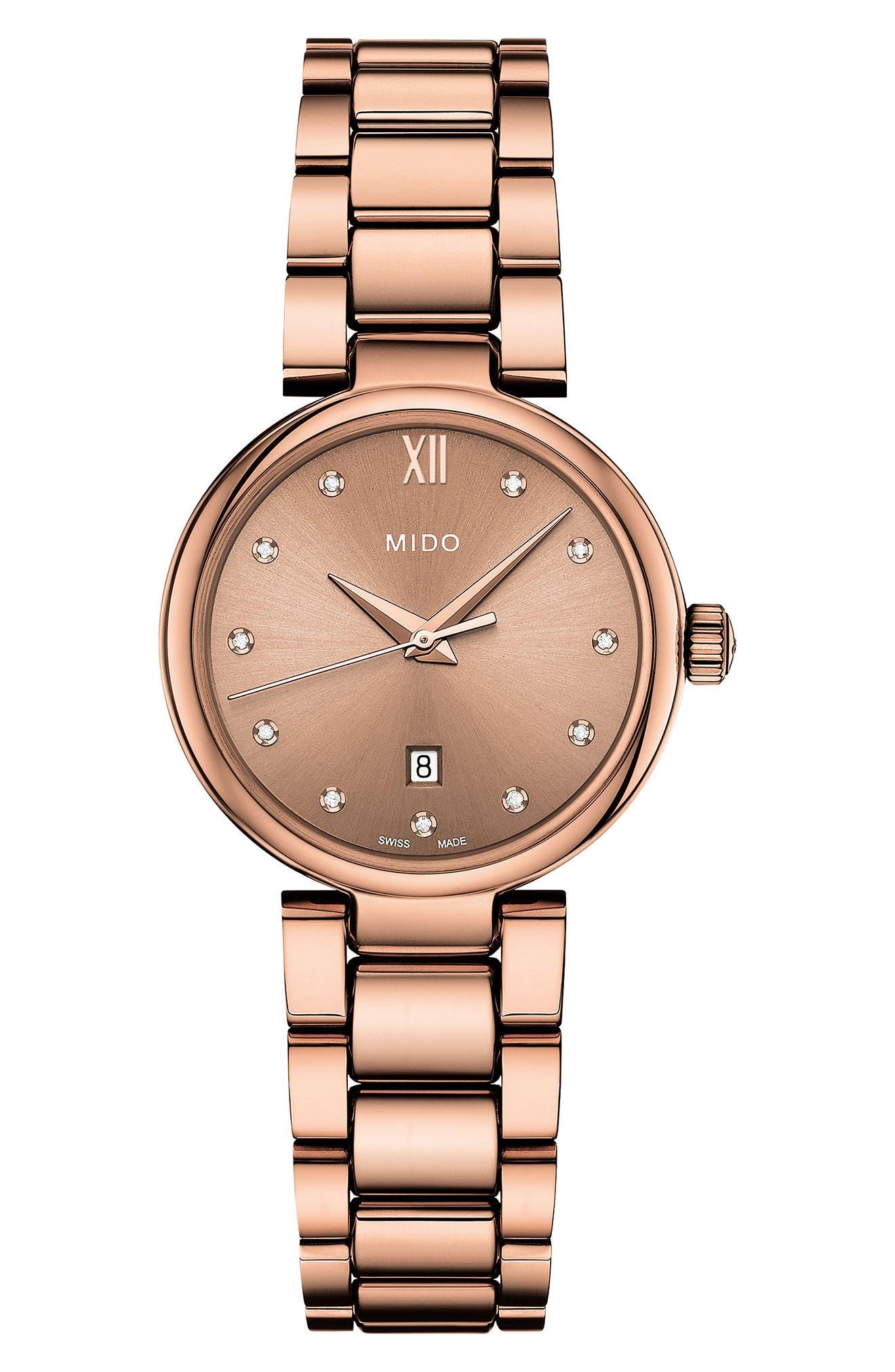 Baroncelli Diamond Bracelet Watch, 28mm,                             Main thumbnail 1, color,                             ROSE GOLD