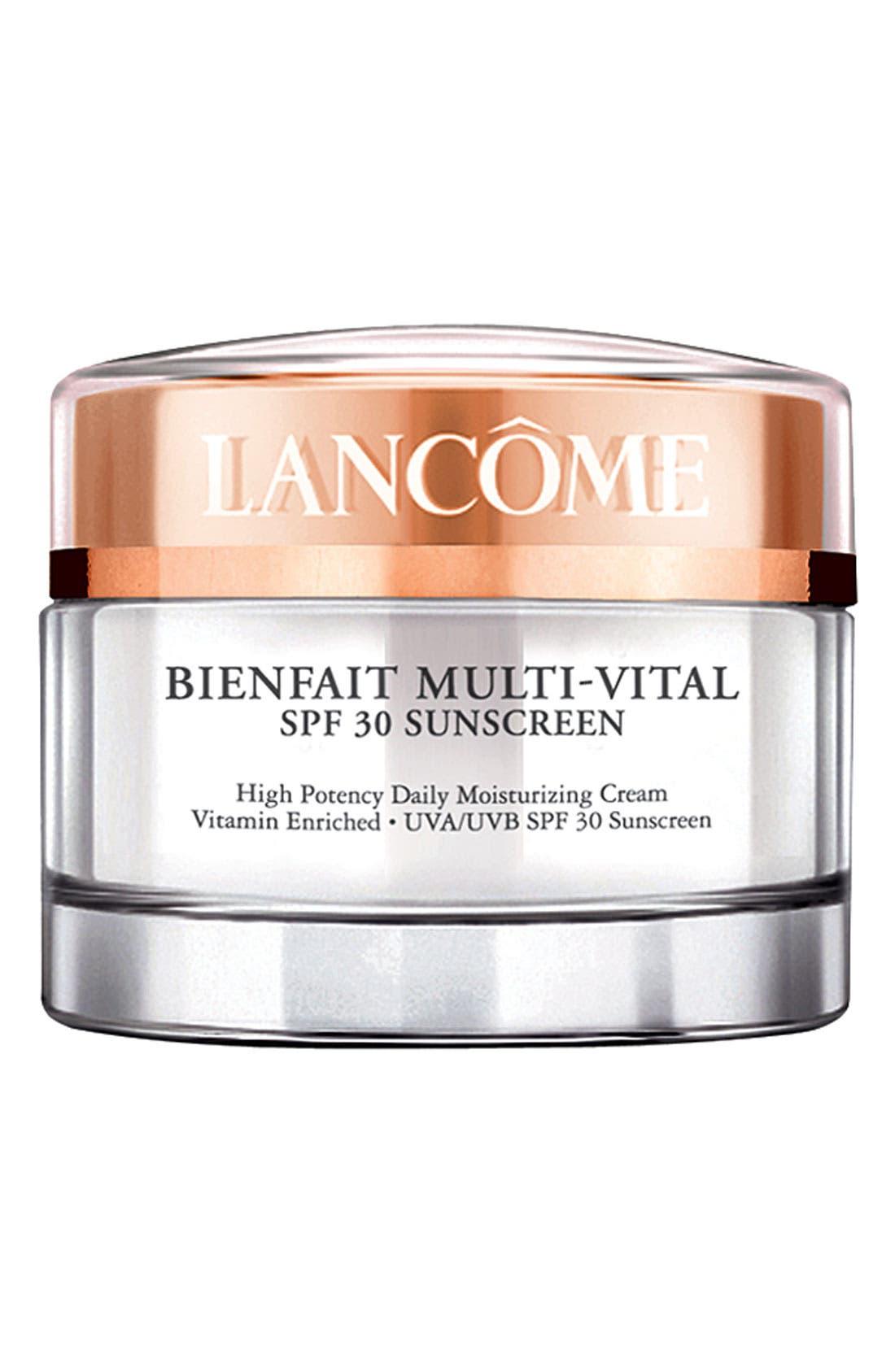 LANCÔME,                             Bienfait Multi-Vital SPF 30 Sunscreen Cream,                             Main thumbnail 1, color,                             NO COLOR