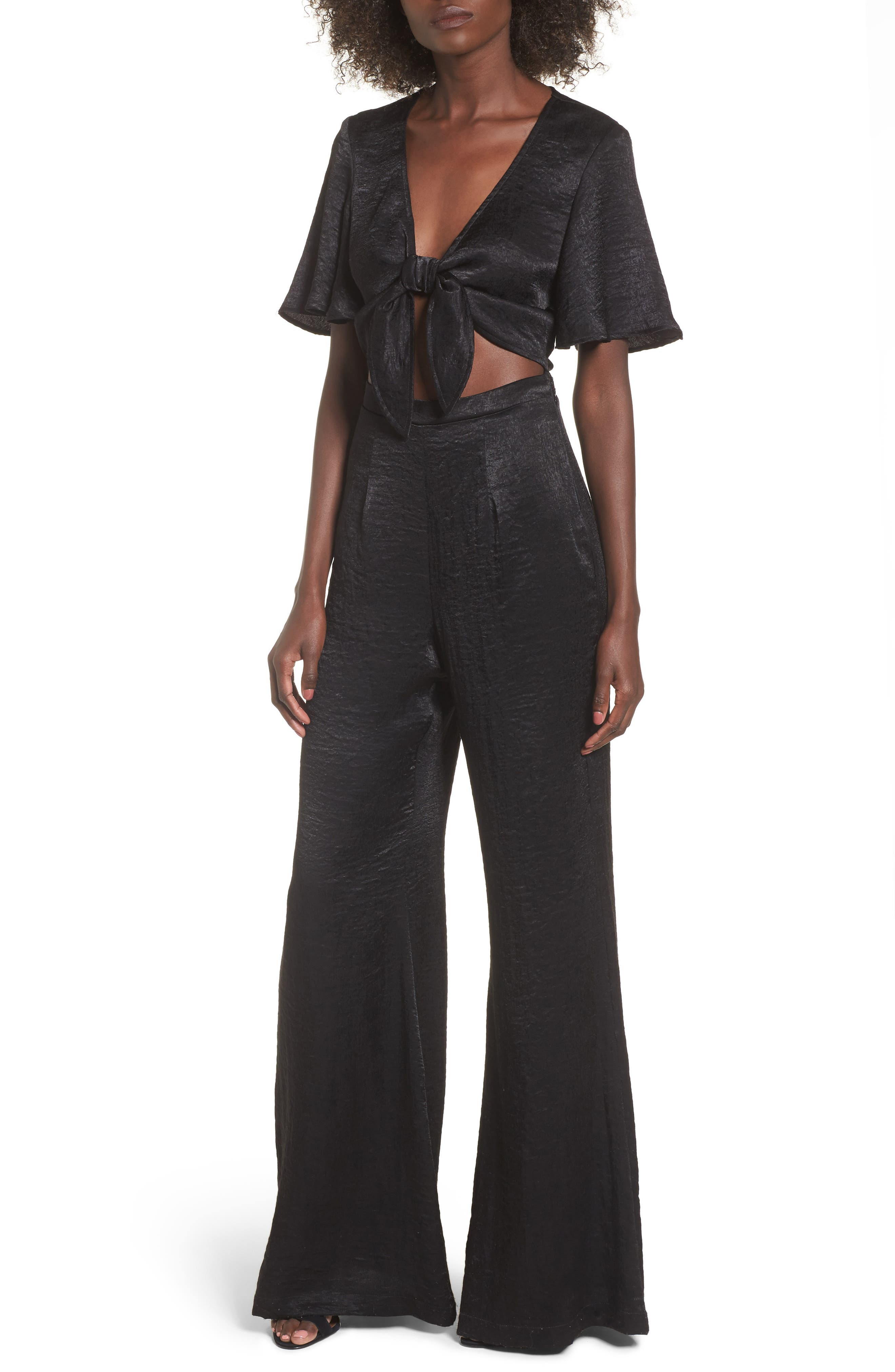 Jenna Tie Waist Jumpsuit,                         Main,                         color, 001