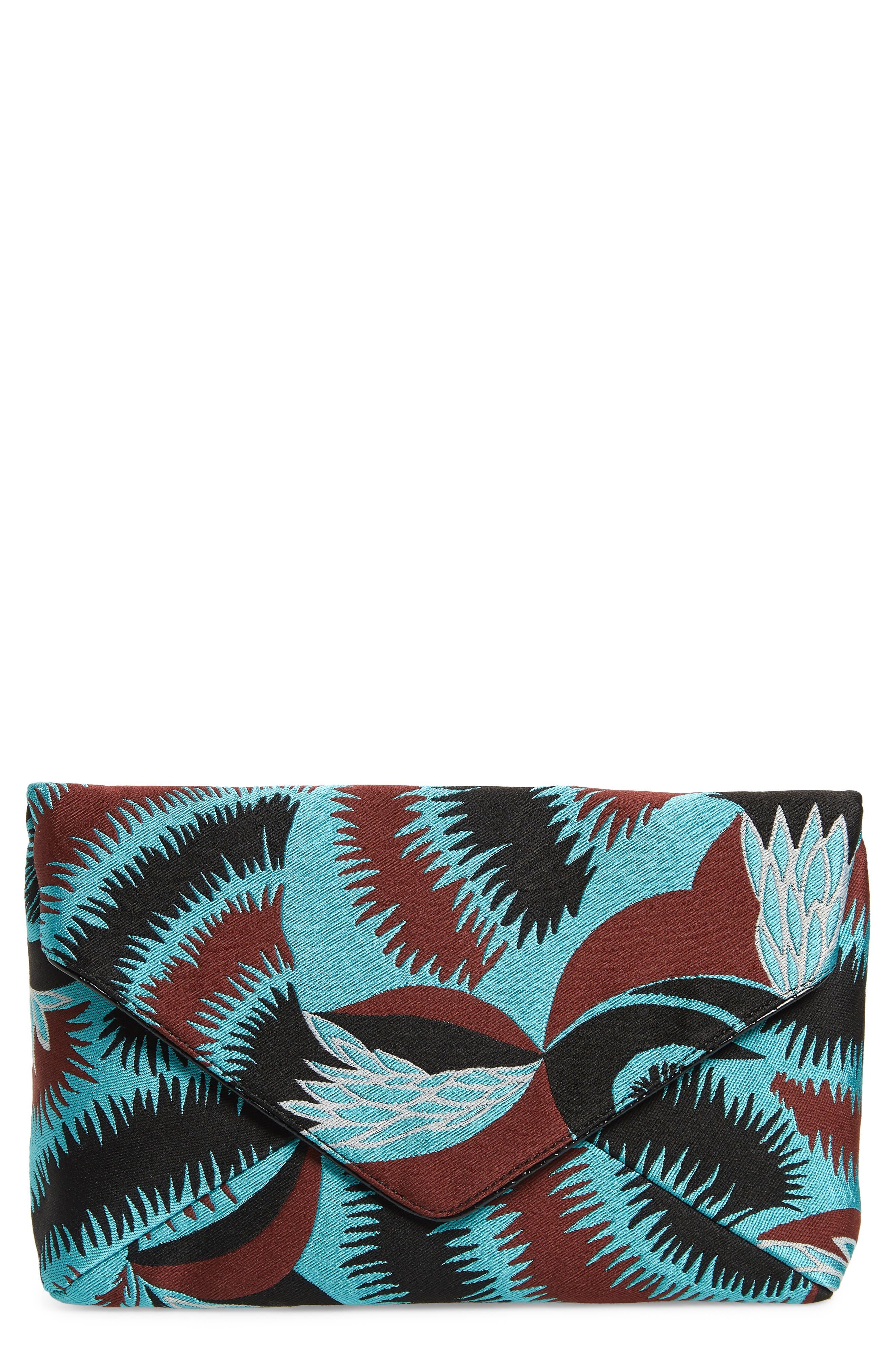 Floral Jacquard Envelope Clutch,                             Main thumbnail 1, color,                             TURQUOISE