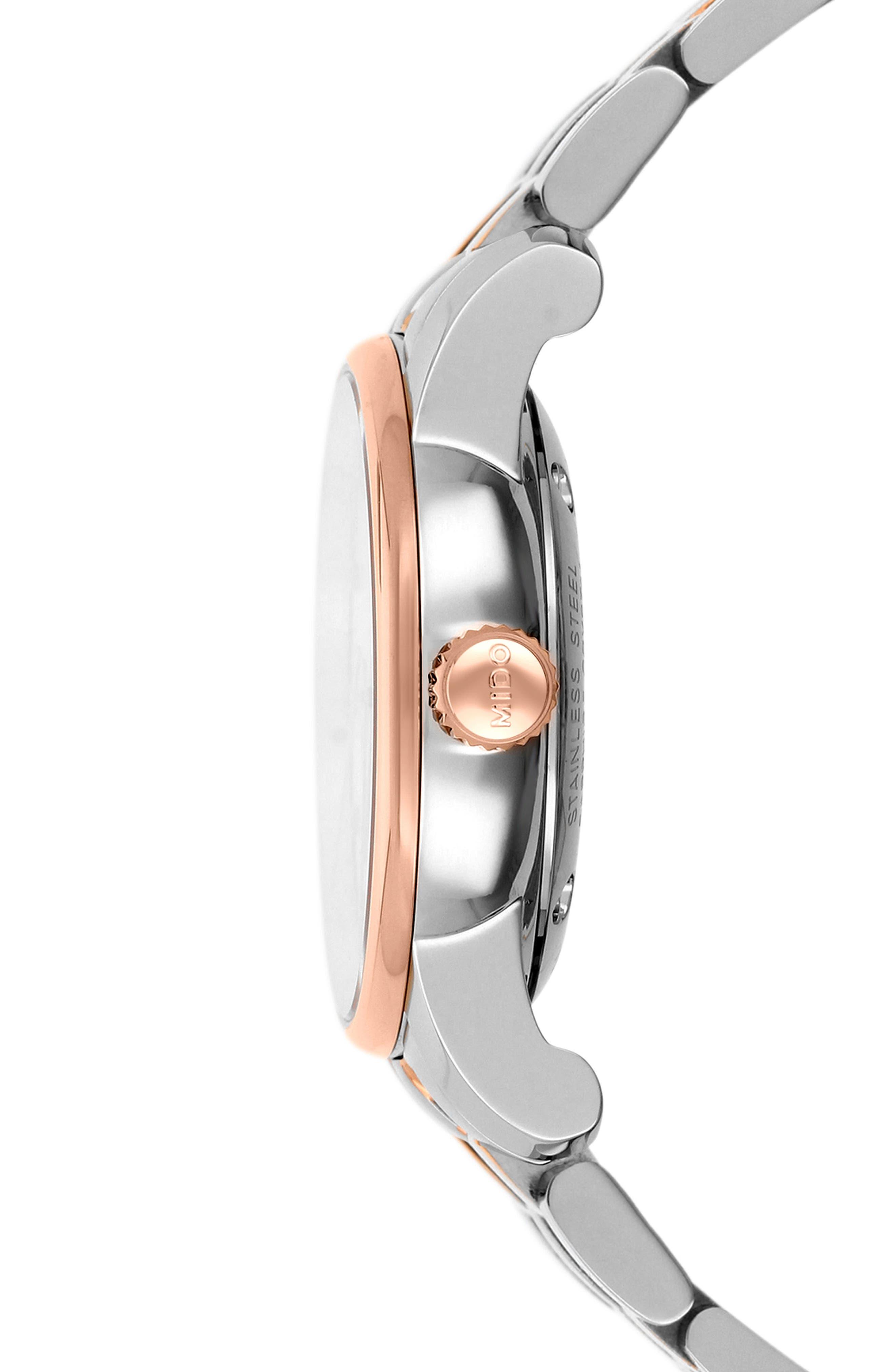 Baroncelli Diamond Bracelet Watch, 29mm,                             Alternate thumbnail 3, color,                             SILVER/ MOP/ ROSE GOLD