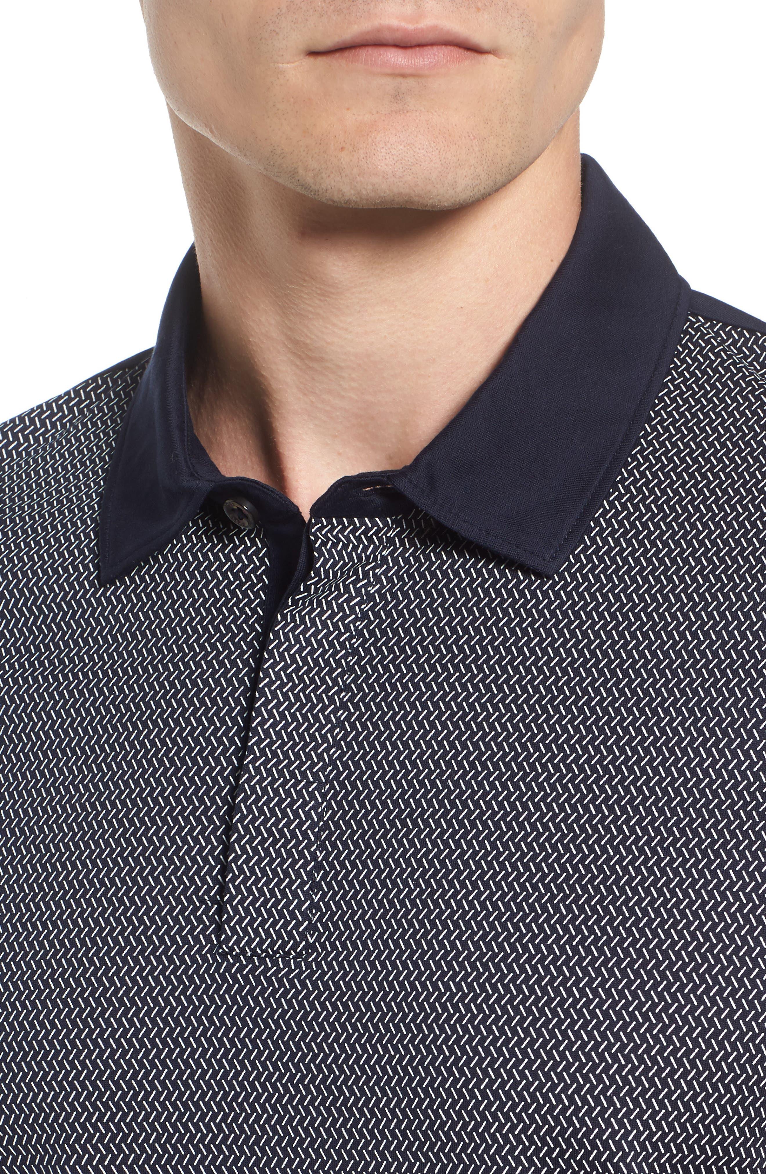 Slim Fit Micro Pattern Polo,                             Alternate thumbnail 4, color,                             410