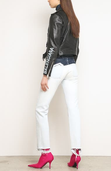 Logo Sleeve Leather Moto Jacket, video thumbnail