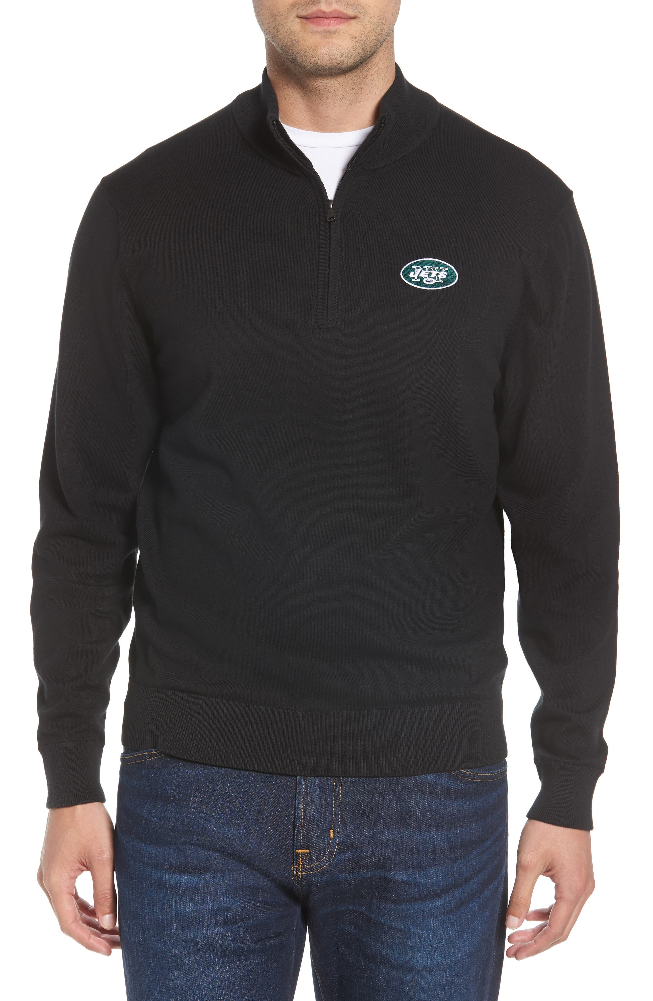 New York Jets - Lakemont Regular Fit Quarter Zip Sweater,                         Main,                         color, BLACK