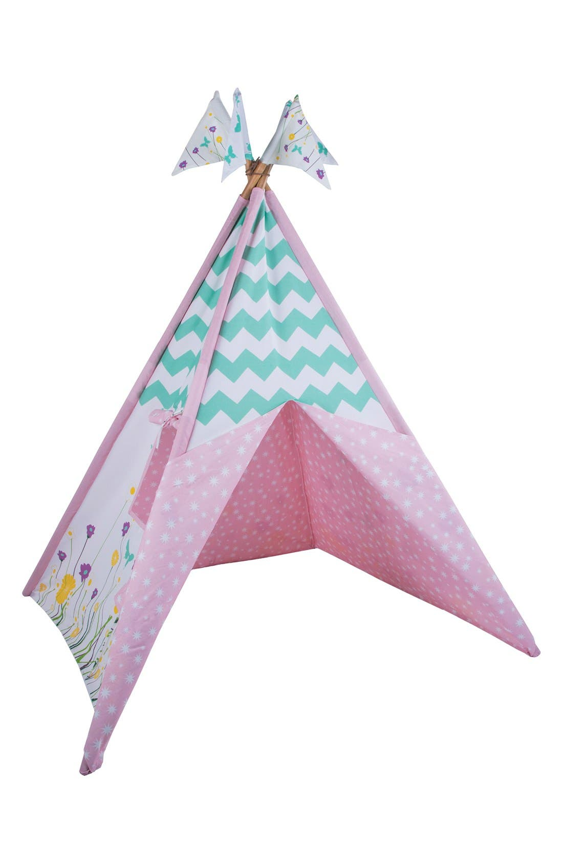 'Wildflowers' Cotton Canvas Teepee,                         Main,                         color, BEIGE