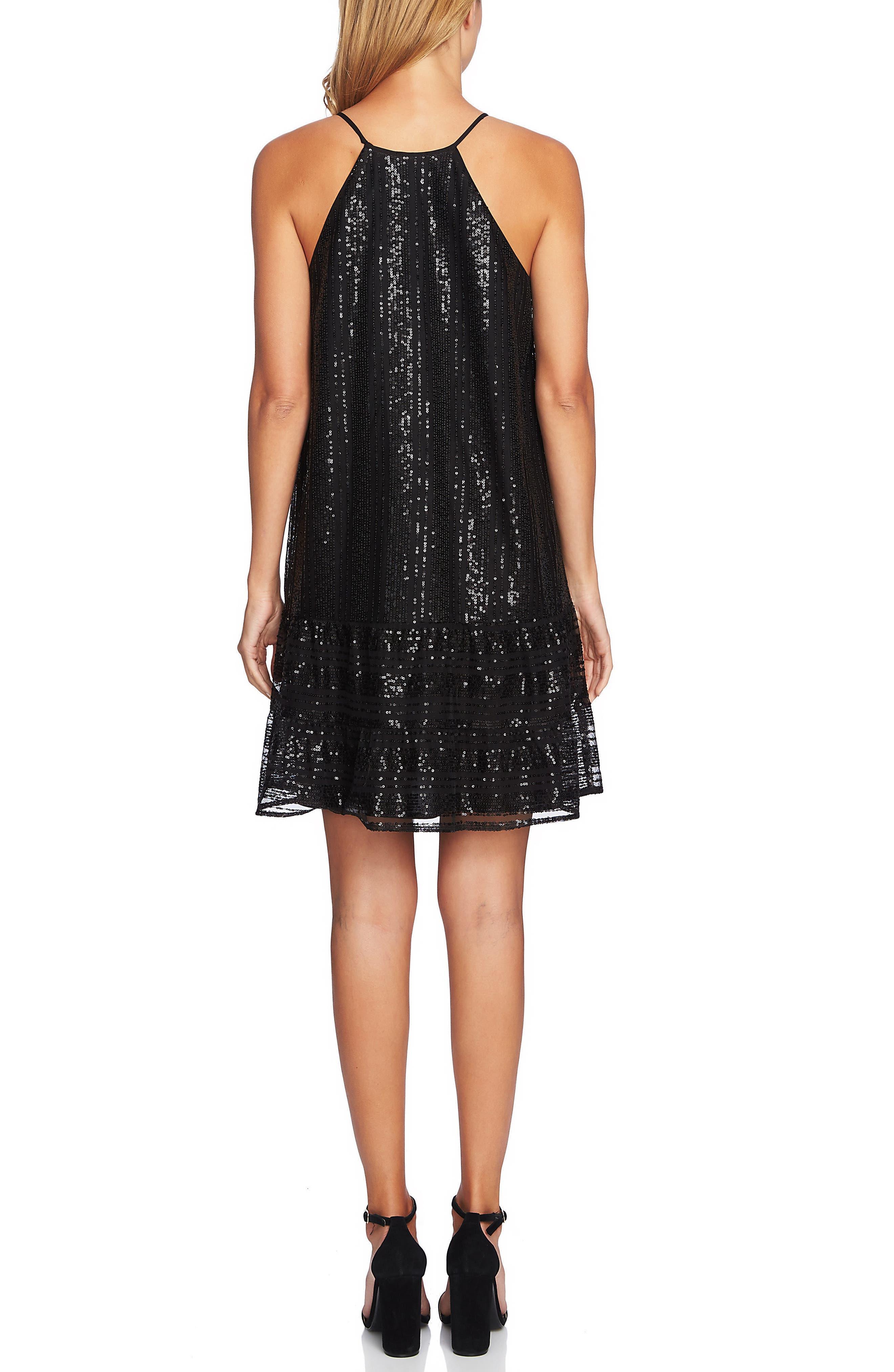 Sequin Ruffle Trim Dress,                             Alternate thumbnail 2, color,                             RICH BLACK