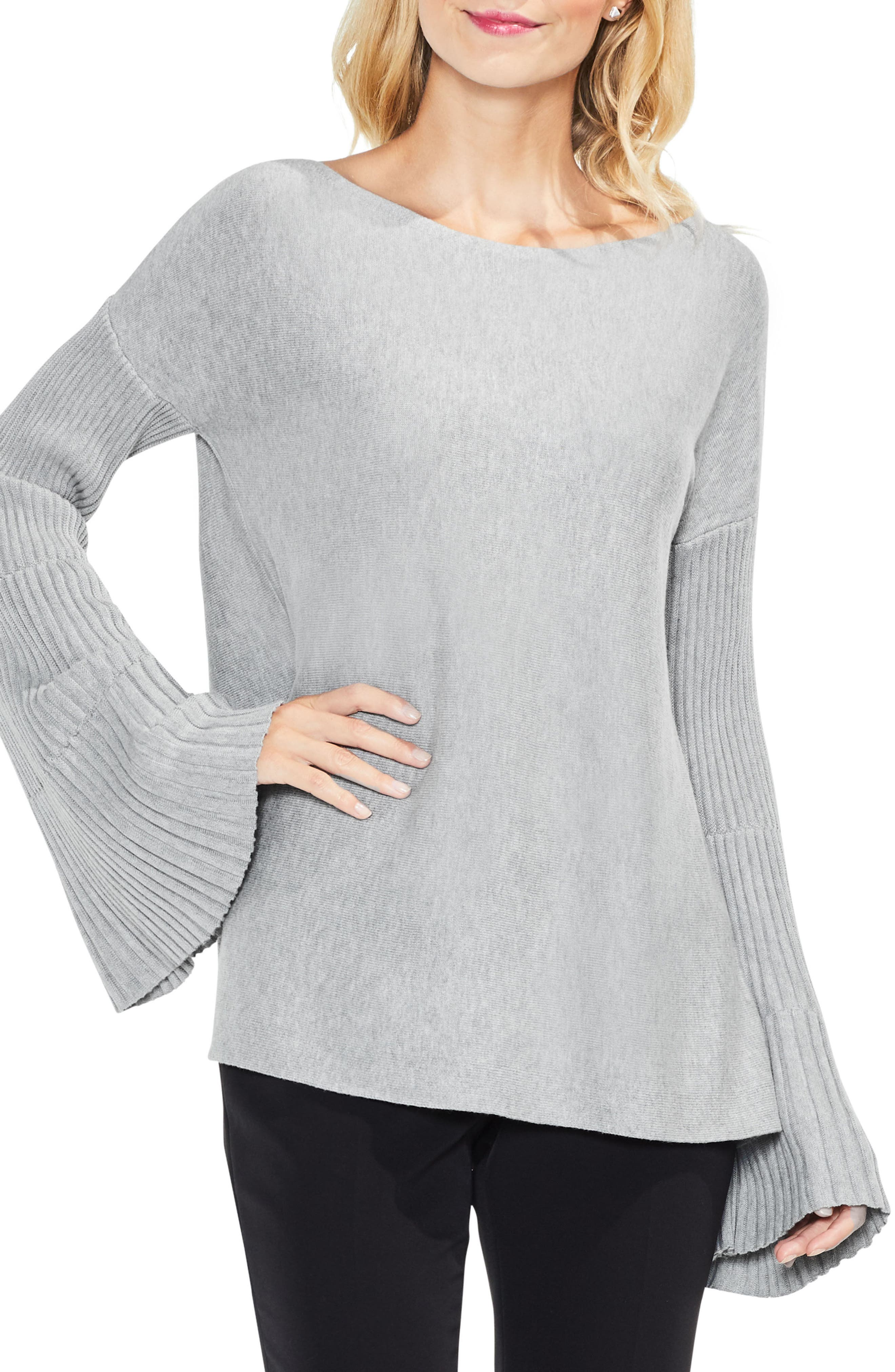 Bell Sleeve Ribbed Sweater,                             Main thumbnail 3, color,