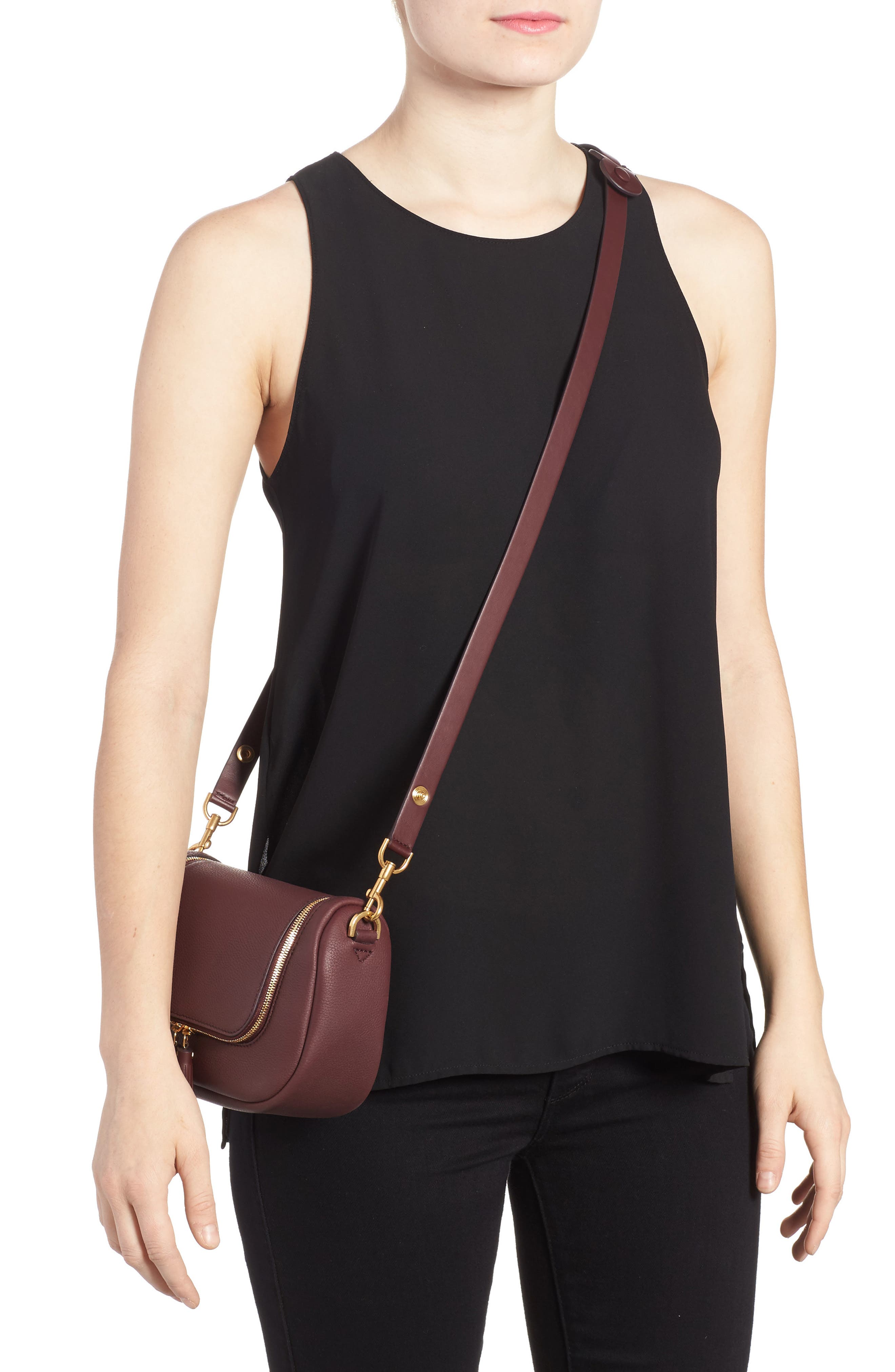 Small Vere Leather Crossbody Satchel,                             Alternate thumbnail 2, color,                             CLARET