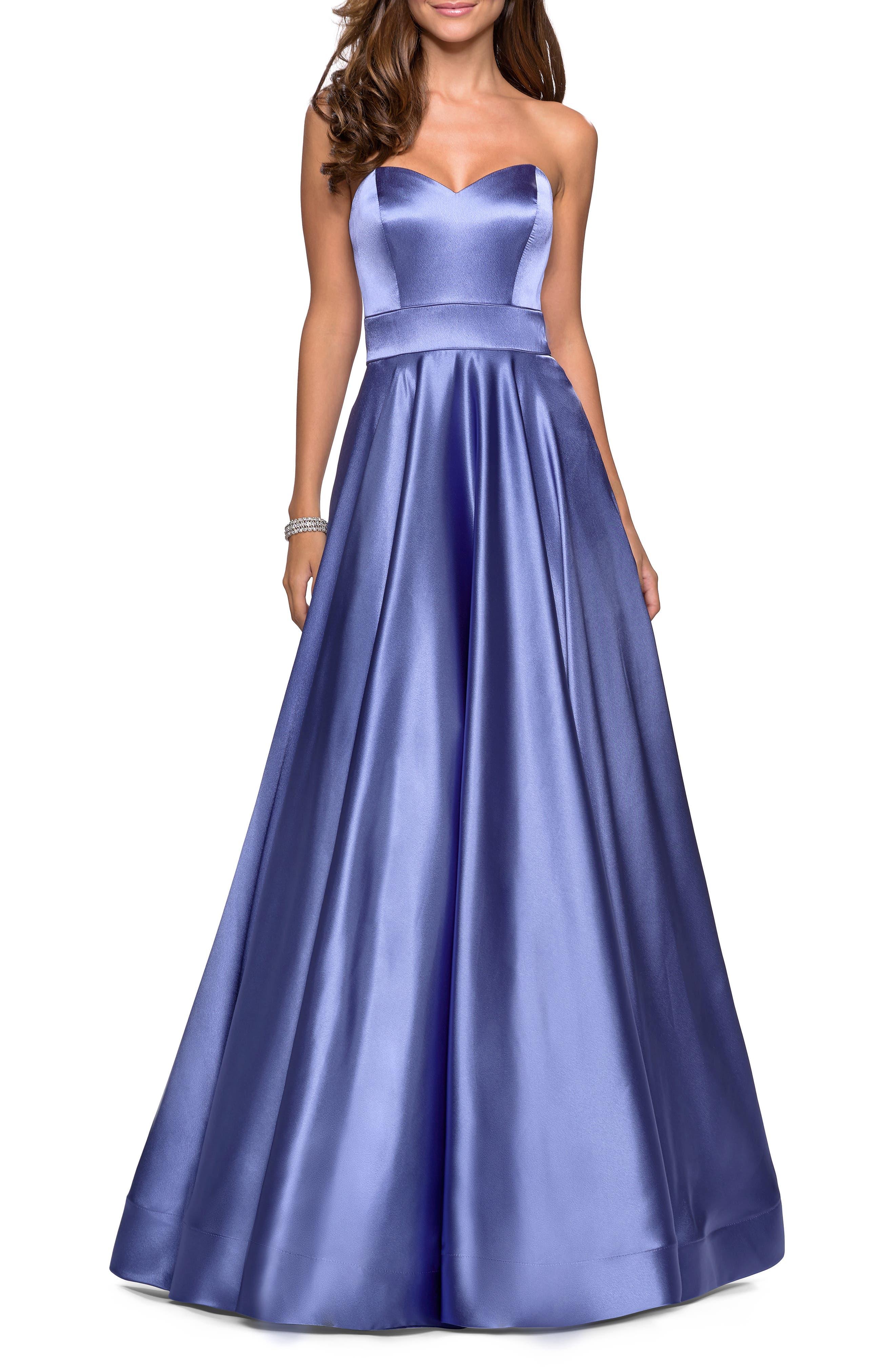 La Femme Strapless Satin Evening Dress, Blue