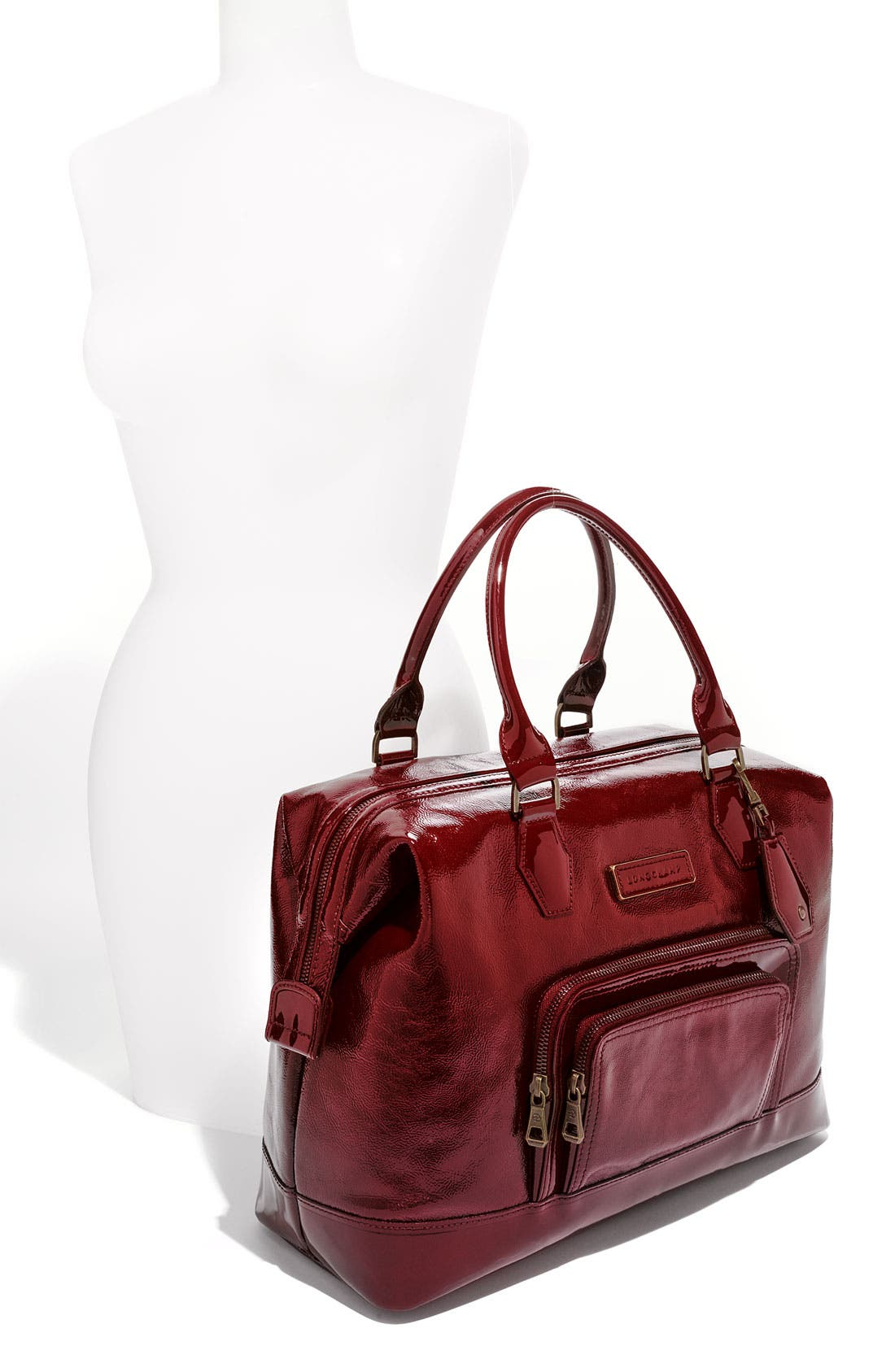 LONGCHAMP,                             'Legende Verni' Patent Calfskin Satchel,                             Alternate thumbnail 2, color,                             601