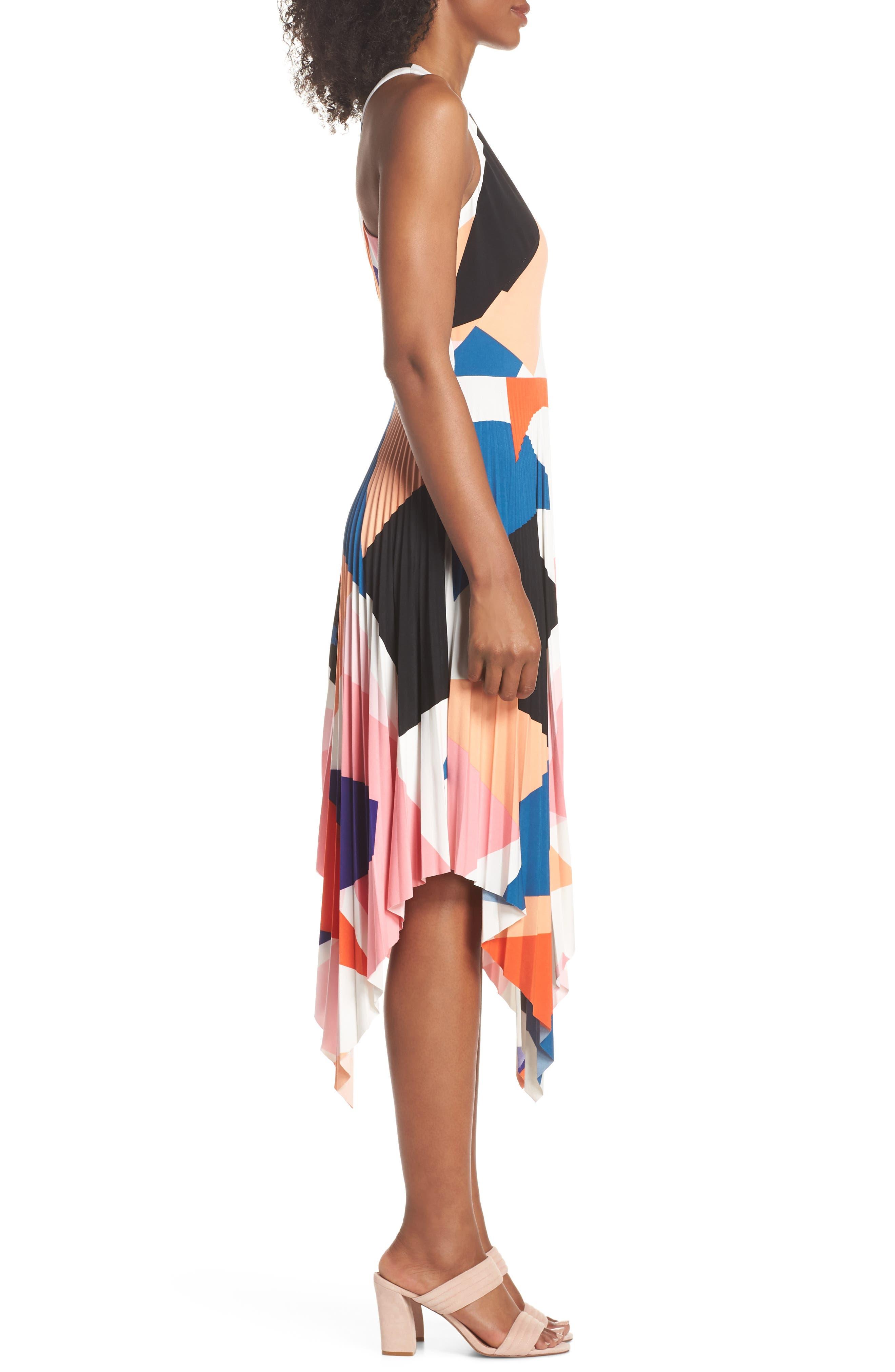 Print Handkerchief Hem Midi Dress,                             Alternate thumbnail 3, color,                             650
