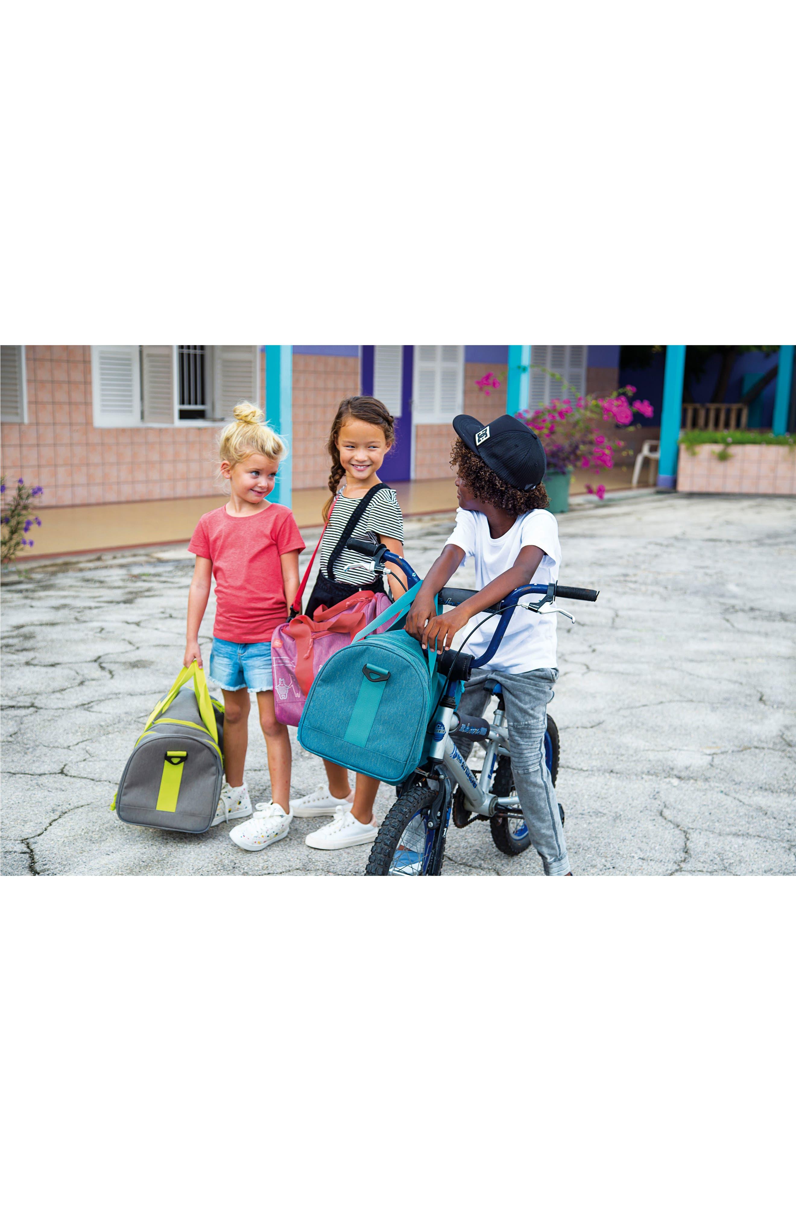 Mini About Friends Duffel Bag,                             Alternate thumbnail 6, color,                             MELANGE BLUE