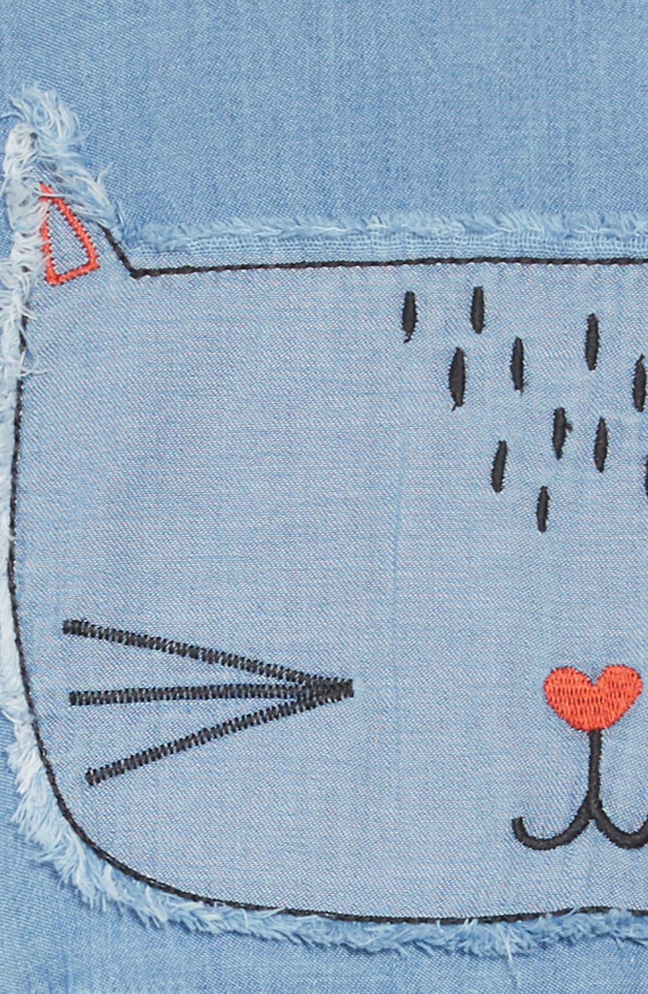 Embroidered Chambray Dress,                             Alternate thumbnail 3, color,                             WEST COAST WASH