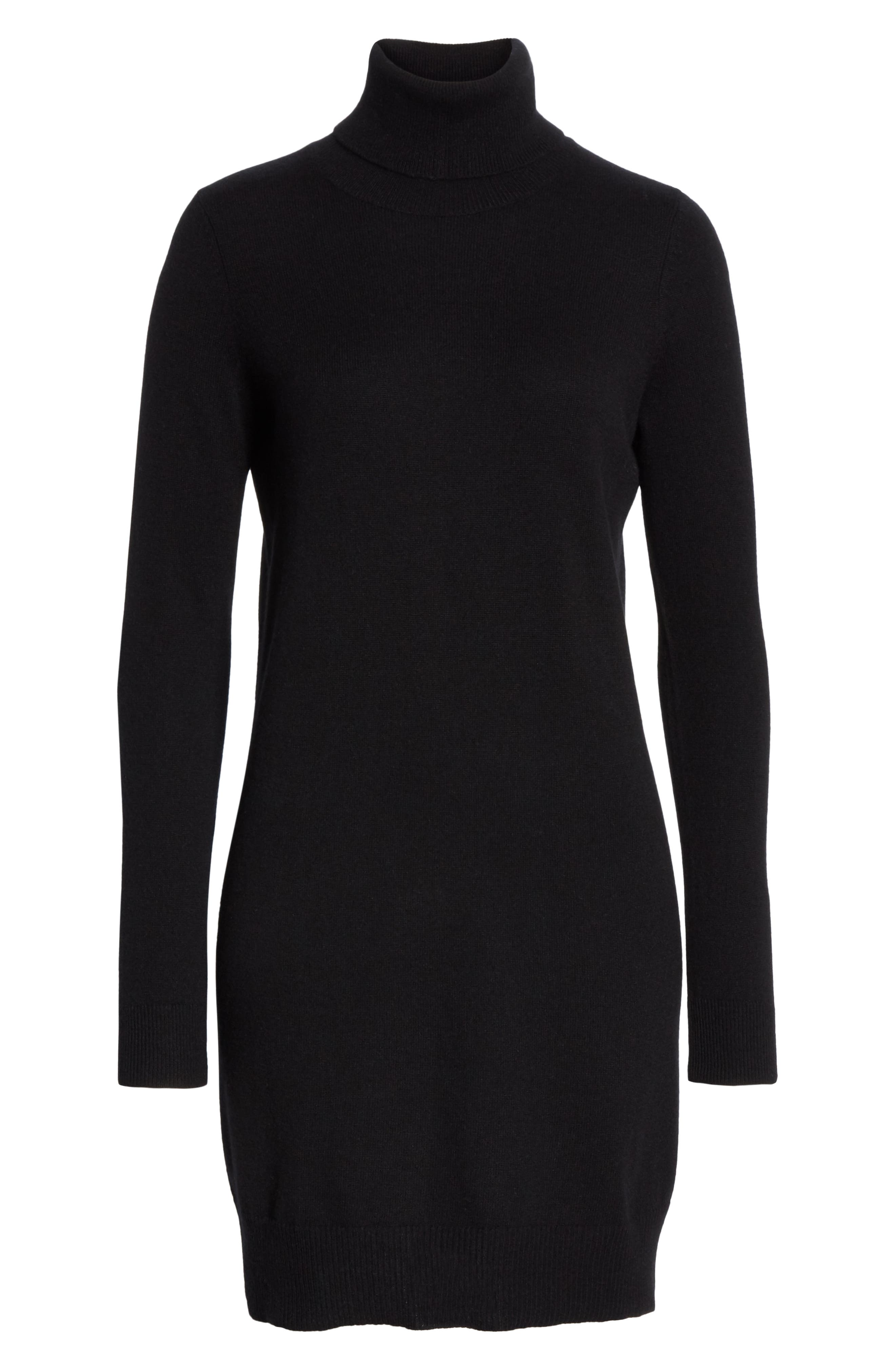 Cashmere Turtleneck Sweater Dress,                             Alternate thumbnail 6, color,                             001