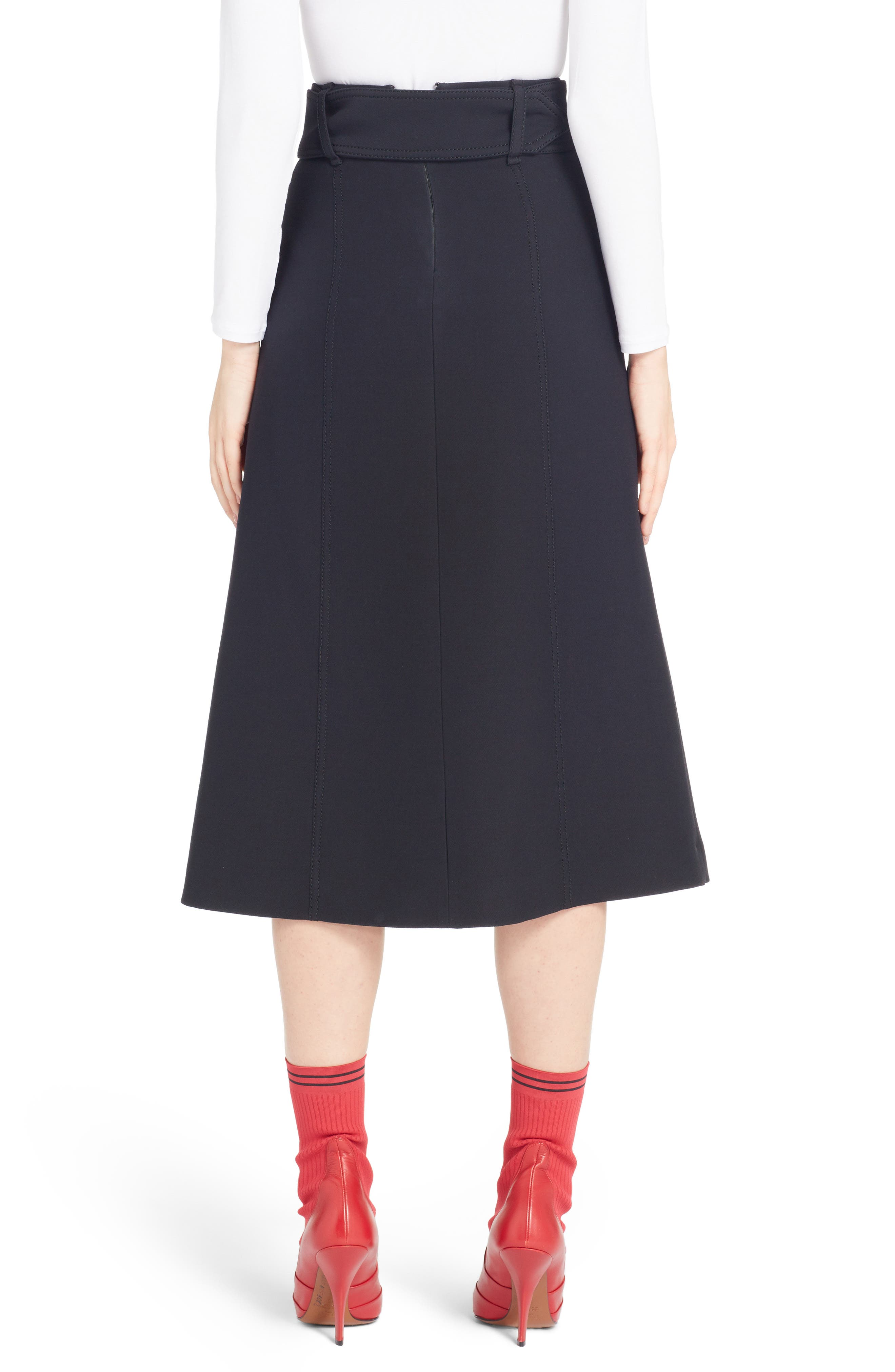Wool & Silk Belted A-Line Skirt,                             Alternate thumbnail 2, color,                             001