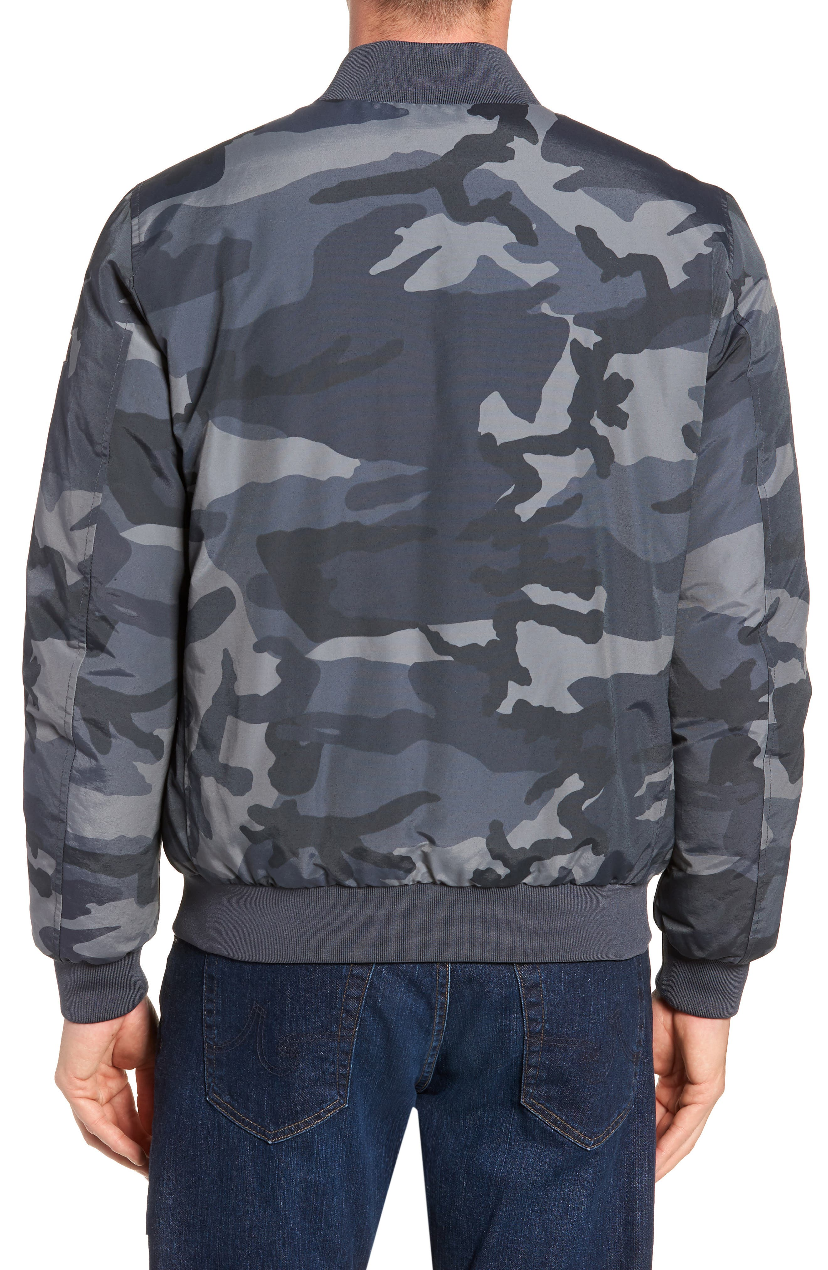 Reversible Camo Down Bomber Jacket,                             Alternate thumbnail 3, color,                             GREY CAMOU
