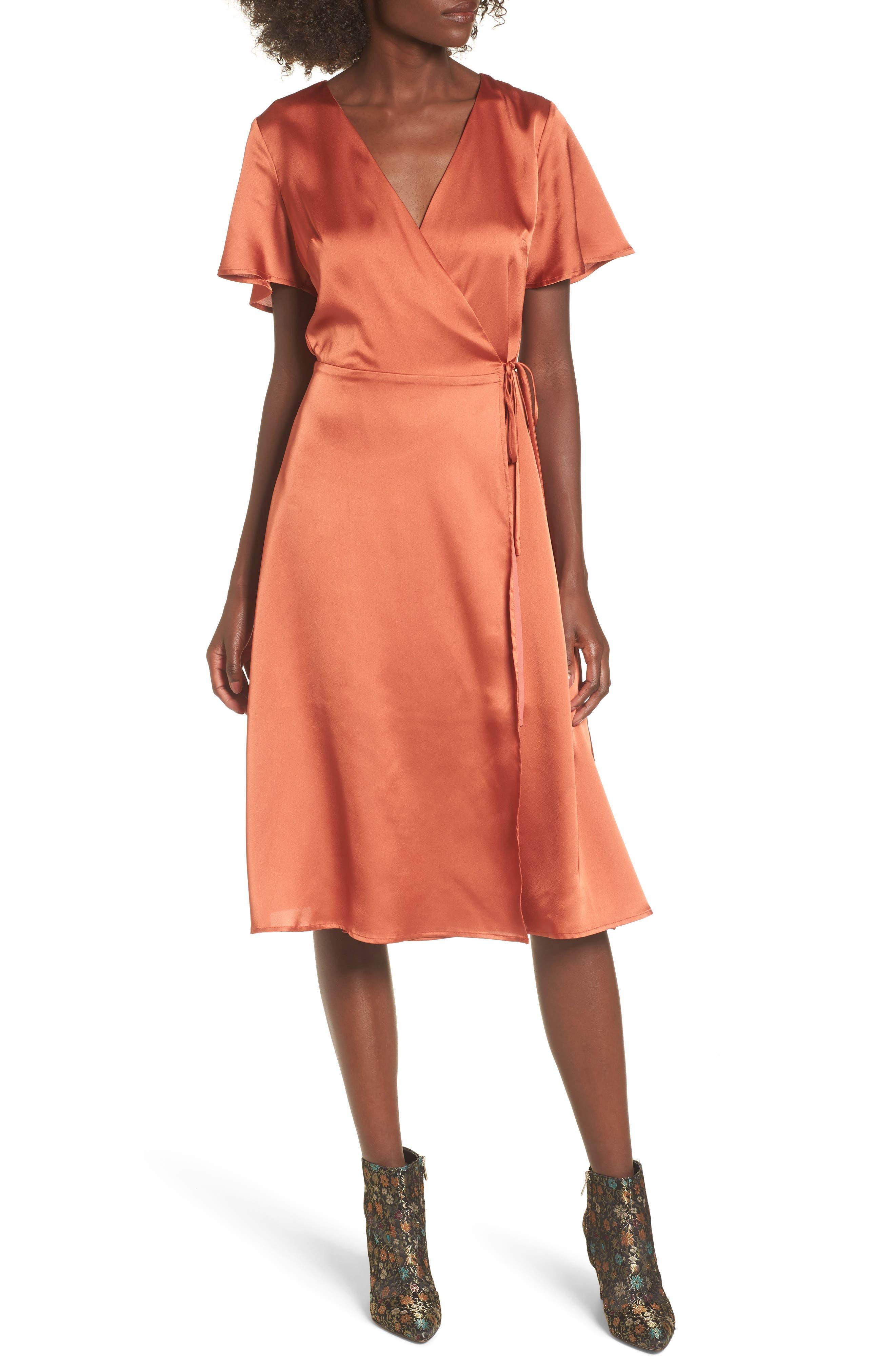 Satin Wrap Dress,                         Main,                         color, 201