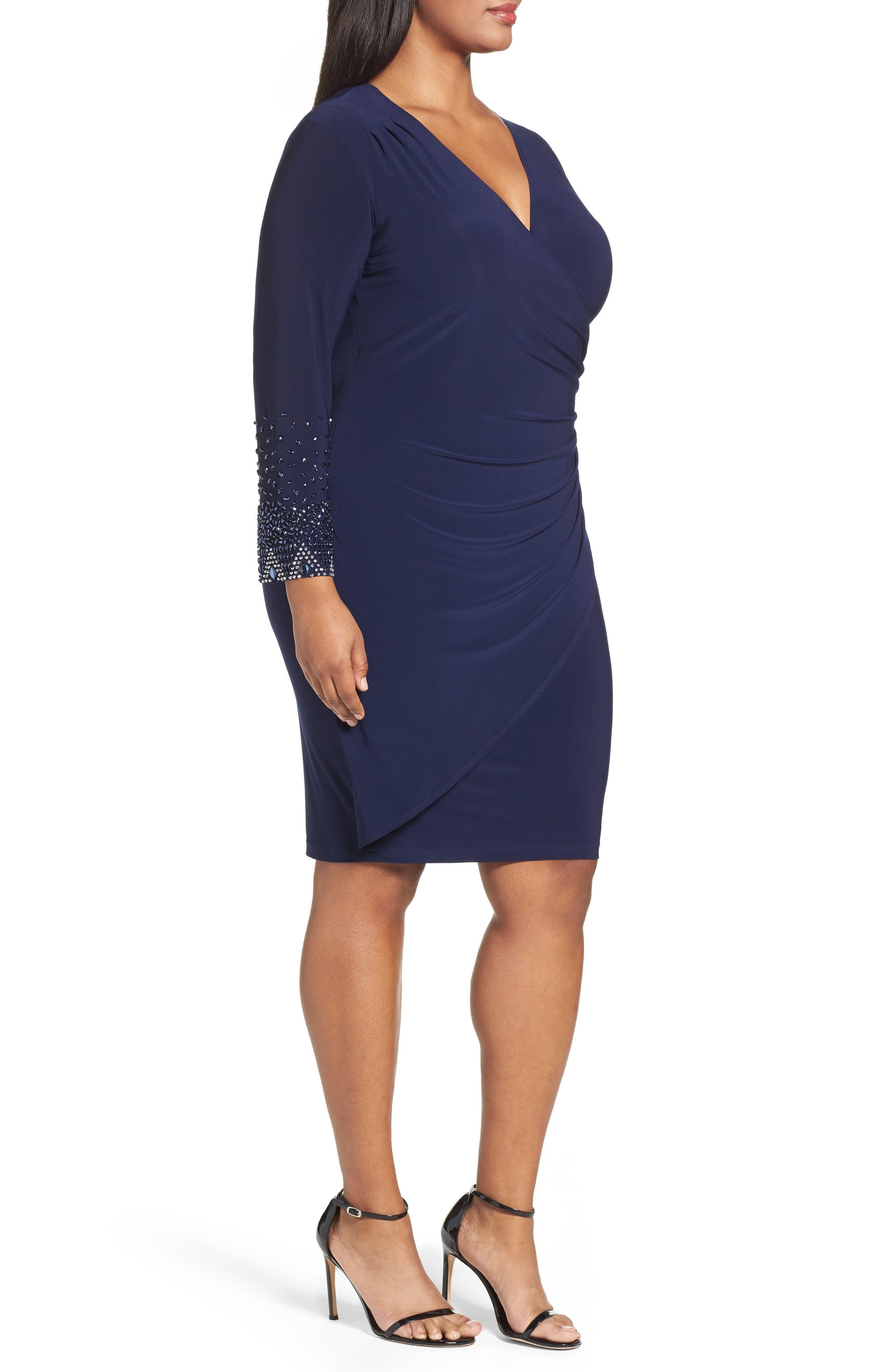 Embellished Faux Wrap Dress,                             Alternate thumbnail 4, color,                             410