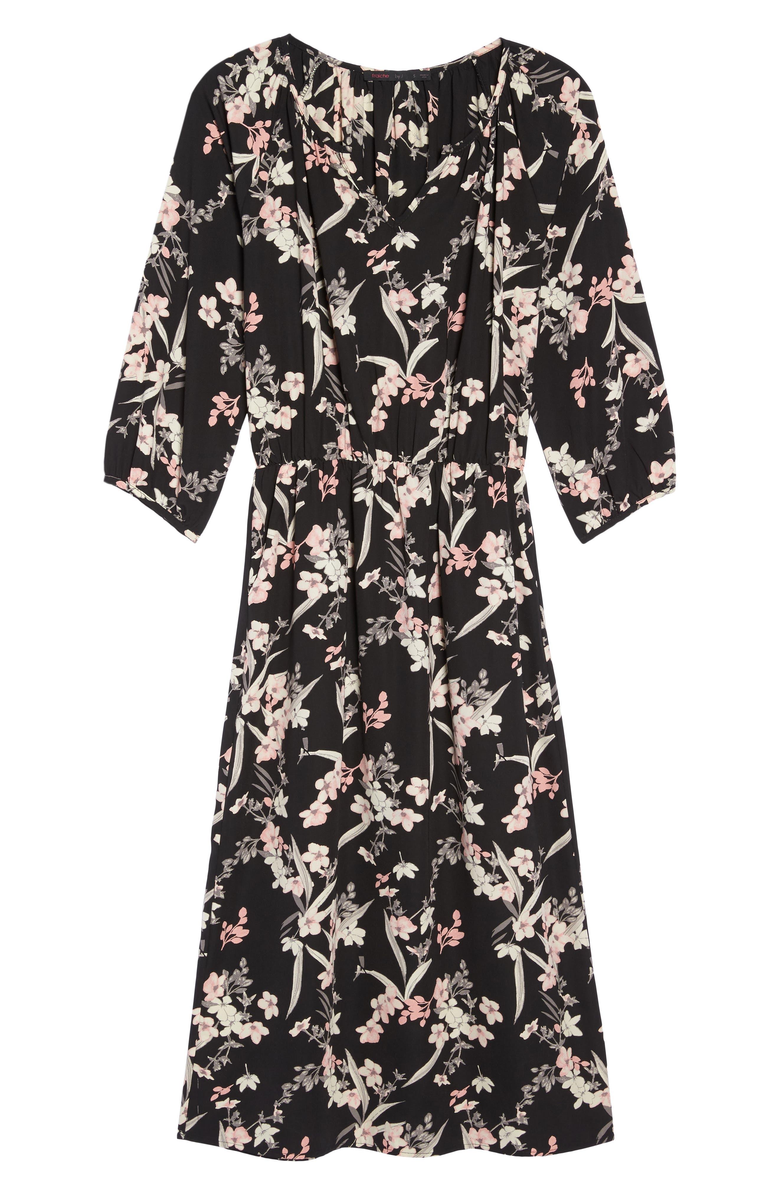 Blouson Midi Dress,                             Alternate thumbnail 6, color,                             IRIS