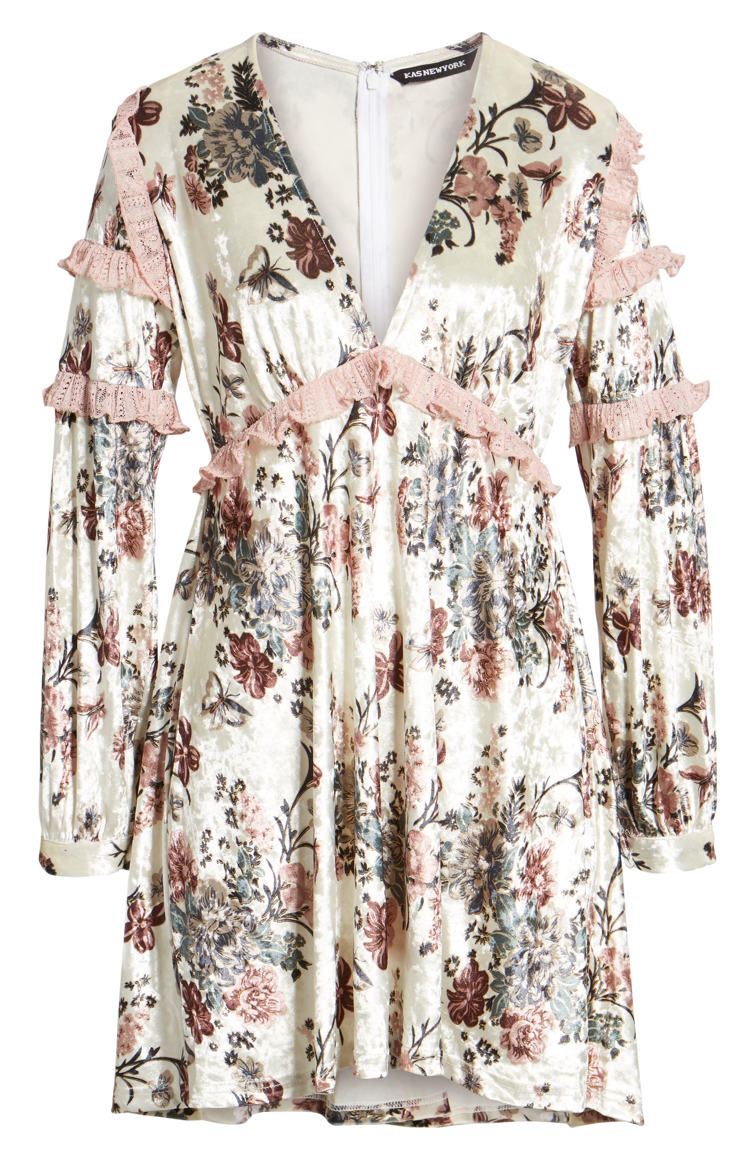 Melisa Floral Velvet & Lace Shift Dress,                             Alternate thumbnail 6, color,                             100