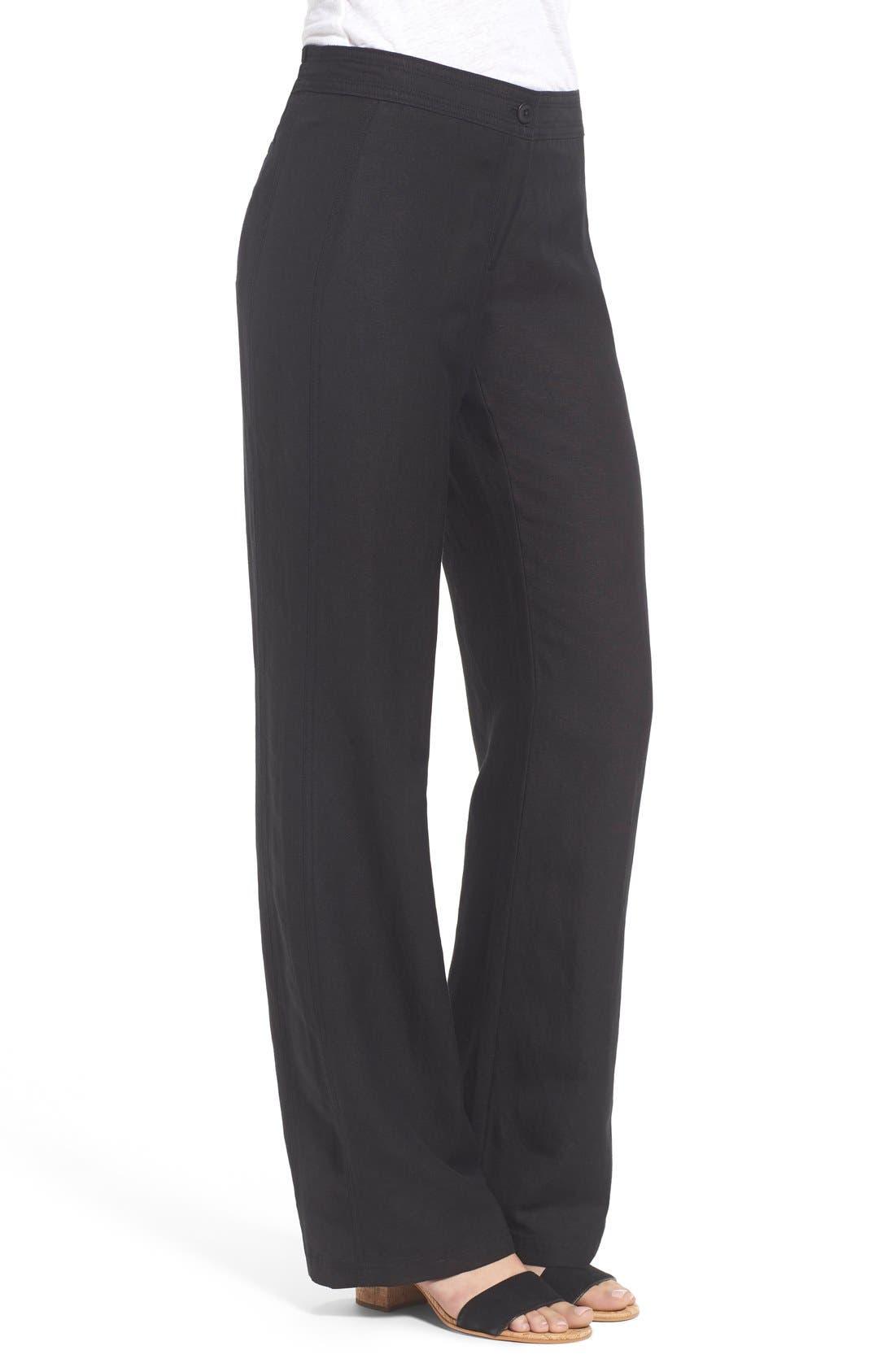 'Easy' Linen Blend Wide Leg Pants,                             Alternate thumbnail 3, color,                             004