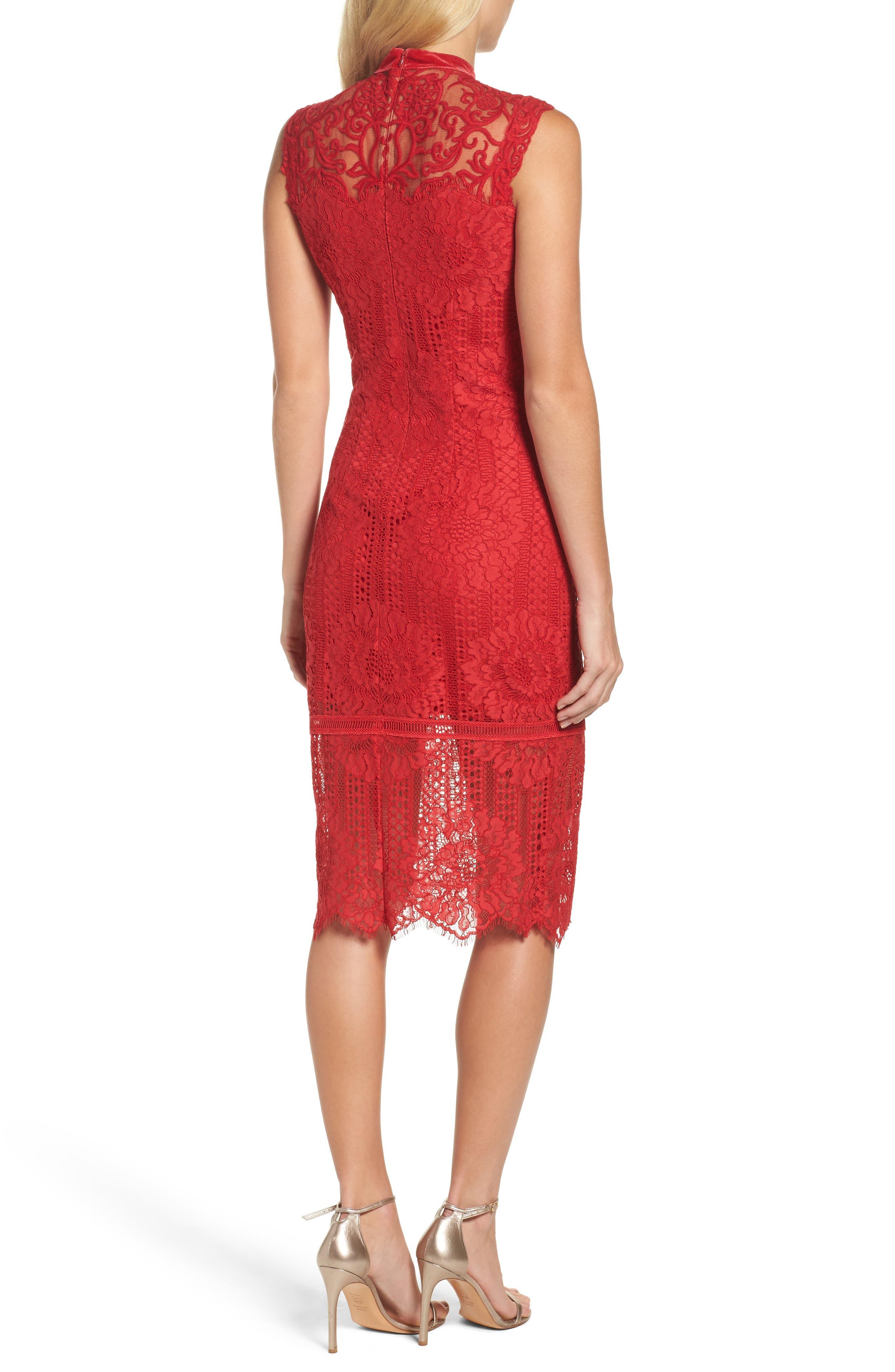 High Neck Stripe Lace Sheath Dress,                             Alternate thumbnail 2, color,                             615