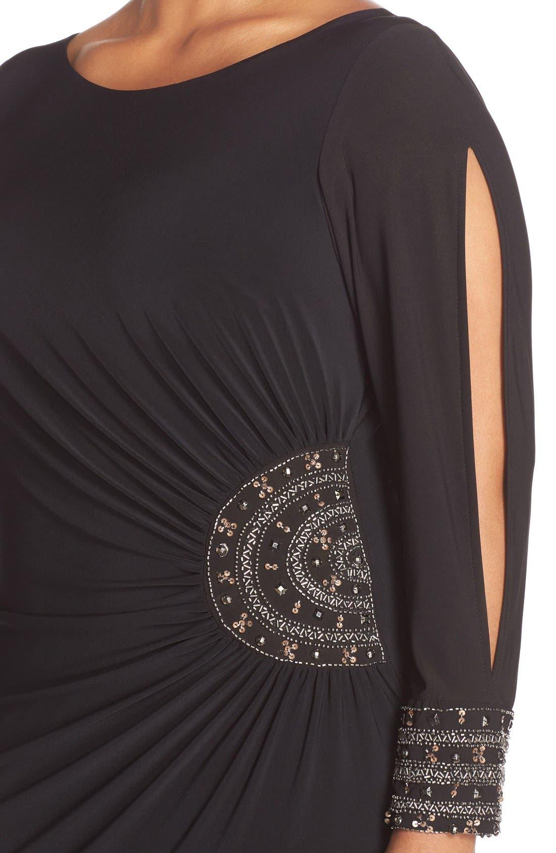 Embellished Stretch Jersey Long Dress,                             Alternate thumbnail 4, color,                             BLACK/ GOLD