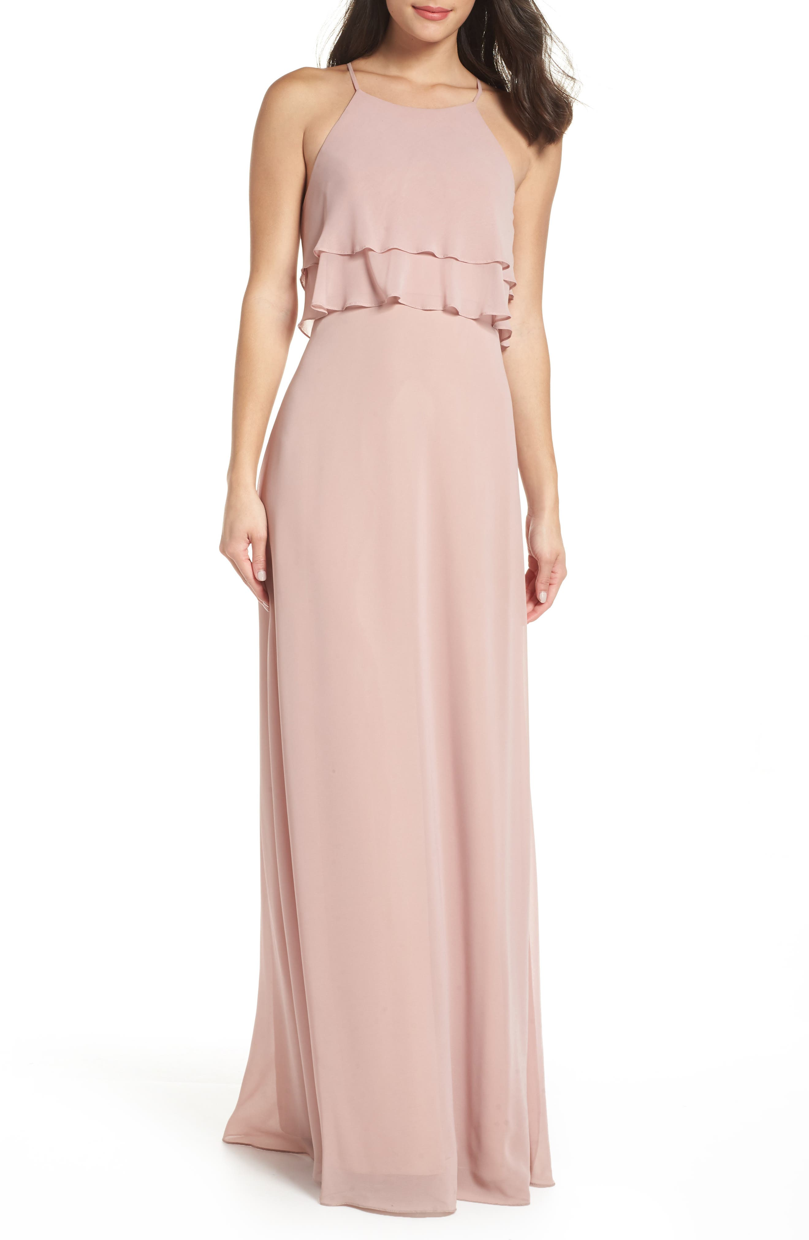 Charlie Ruffle Chiffon Gown,                             Main thumbnail 1, color,                             WHIPPED APRICOT