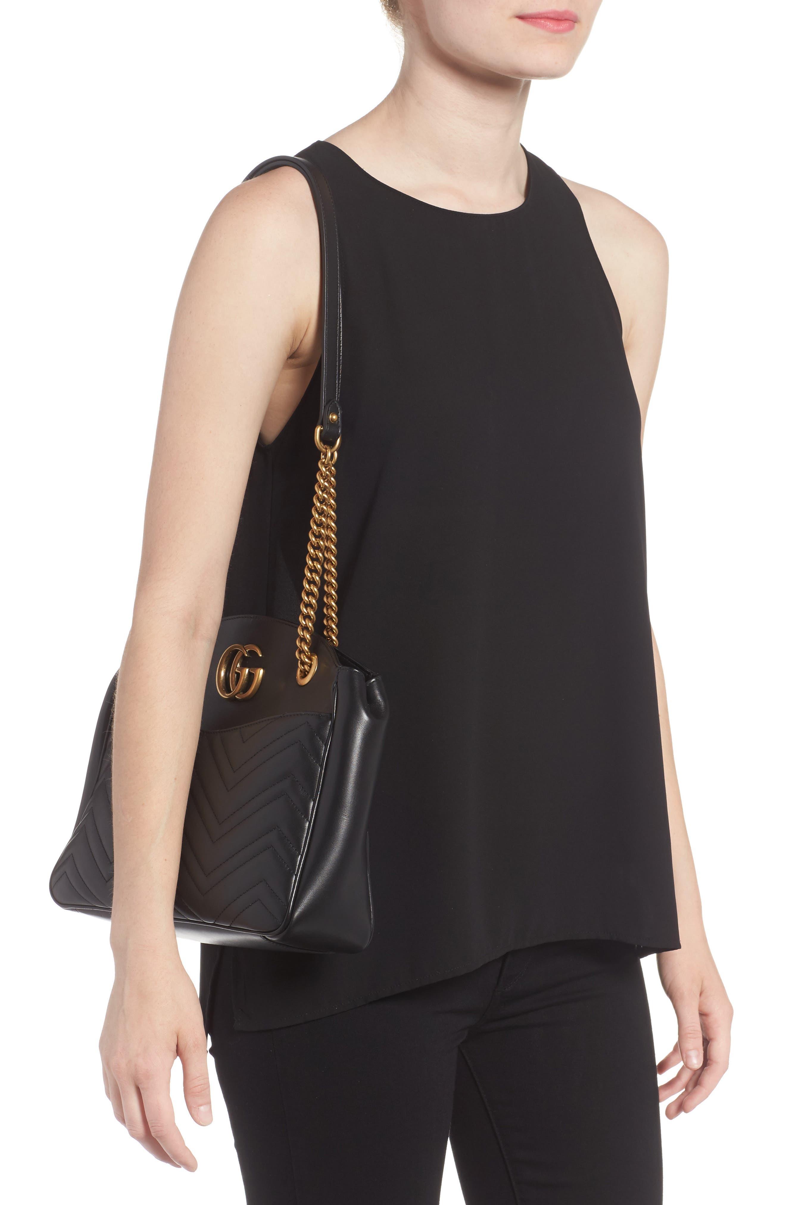 GG Marmont Matelassé Leather Shoulder Bag,                             Alternate thumbnail 2, color,                             001