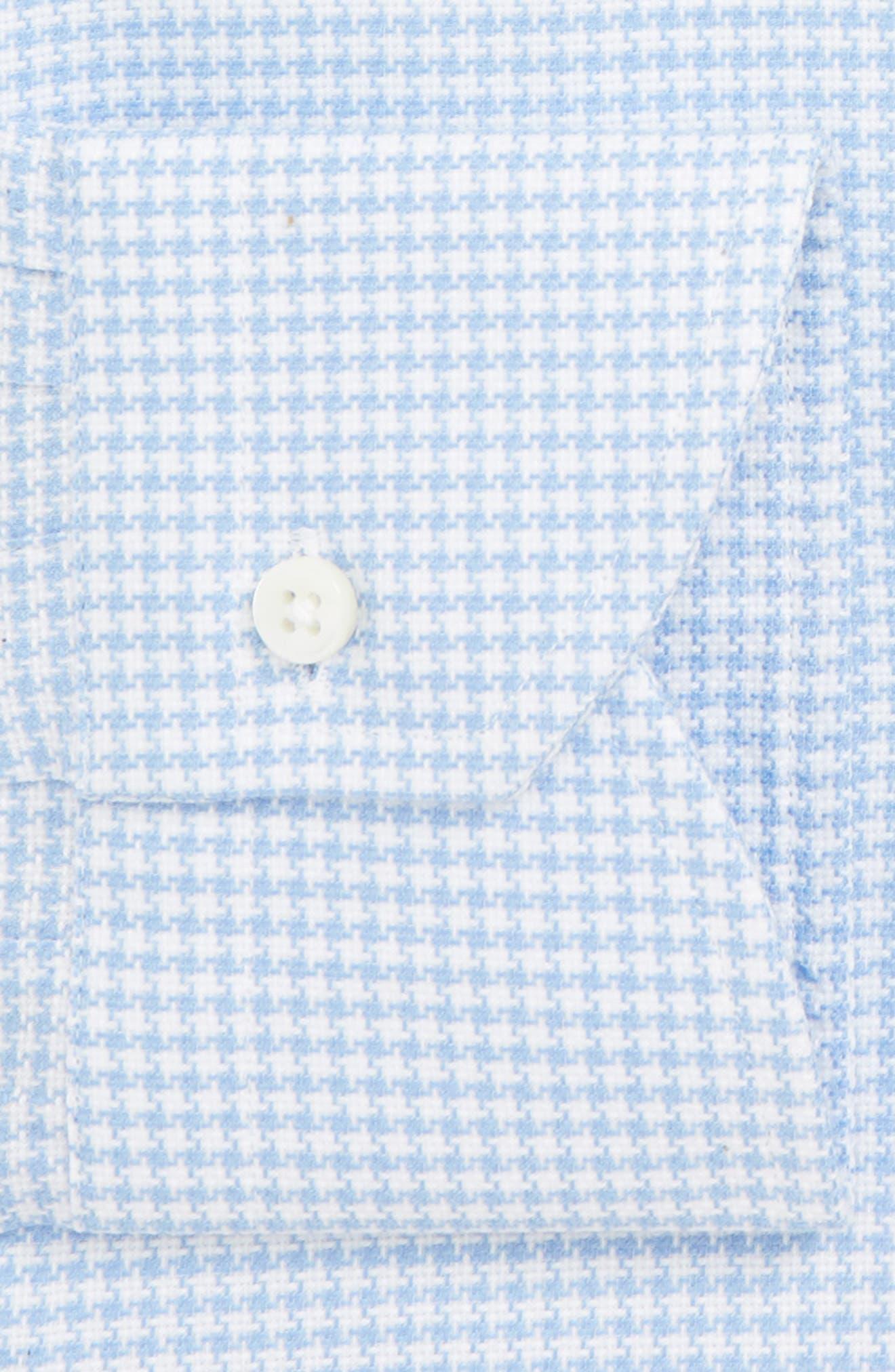 Trim Fit Houndstooth Dress Shirt,                             Alternate thumbnail 7, color,                             LIGHT BLUE