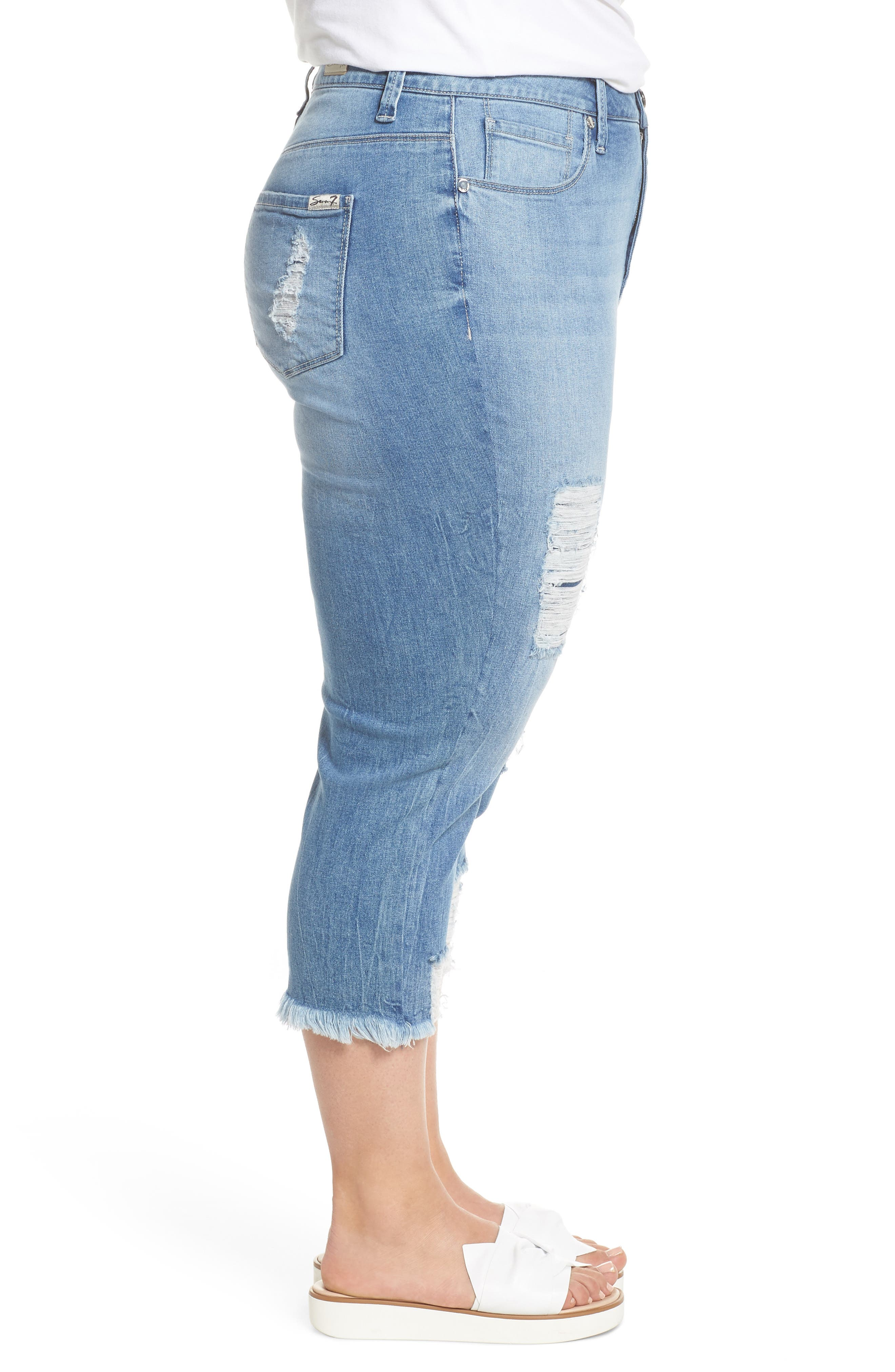 High Rise Distressed Crop Jeans,                             Alternate thumbnail 3, color,                             492